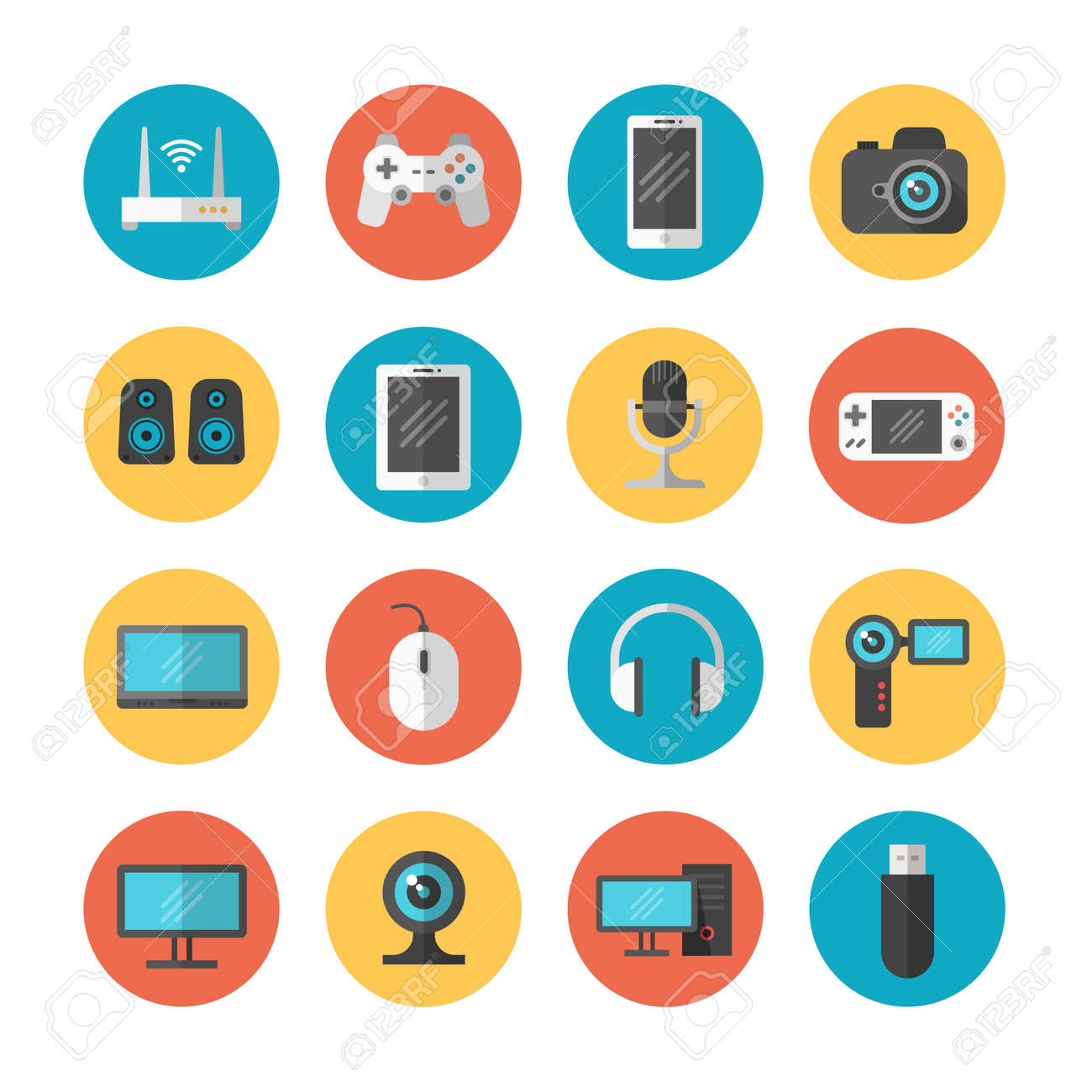 Electronic gadgets and device flat vector icons. Device phone and web camera, illustration of computer device and tablet - 165950342