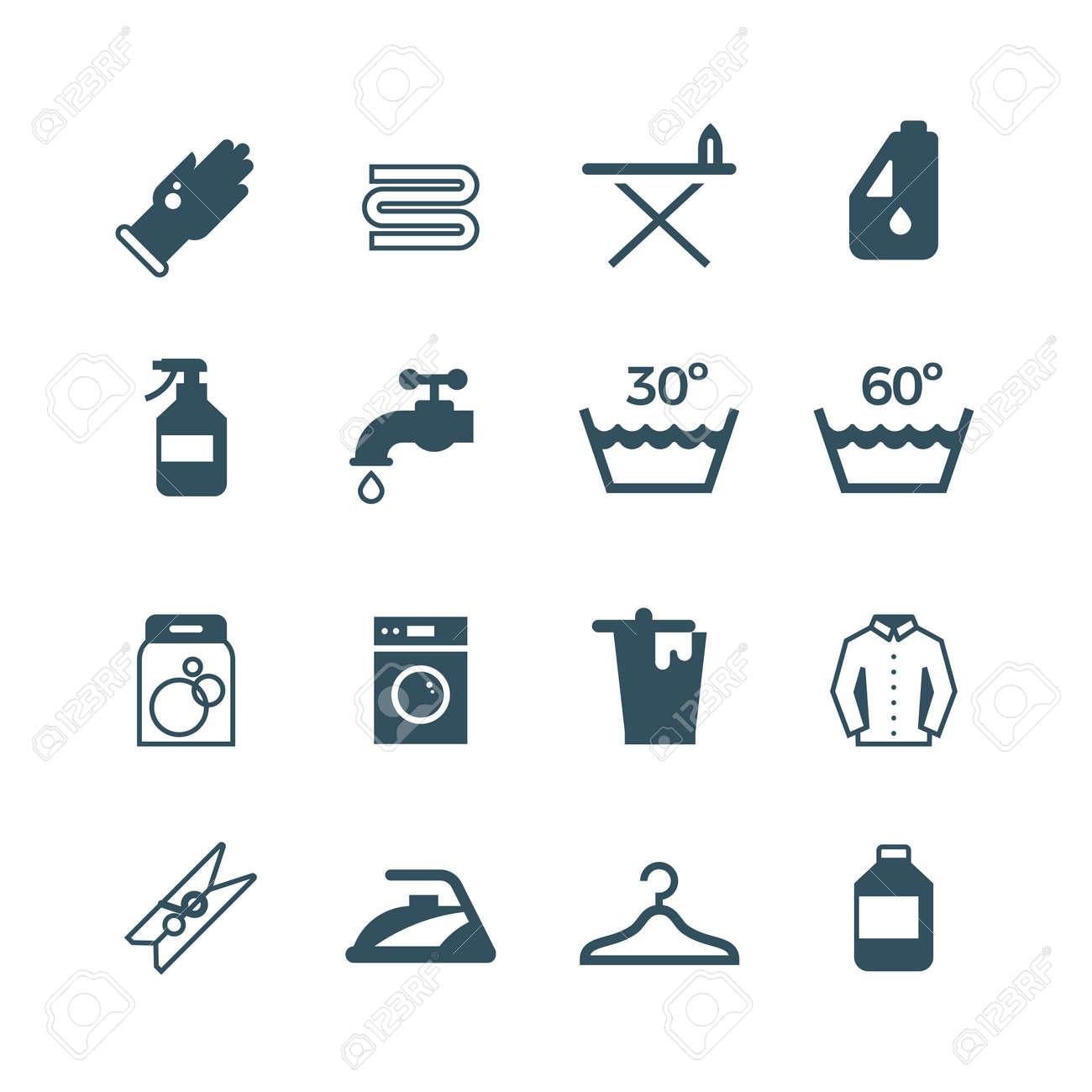 Housework and laundry vector icon. Laundry machine and washing, illustration of equipment washing - 165950345