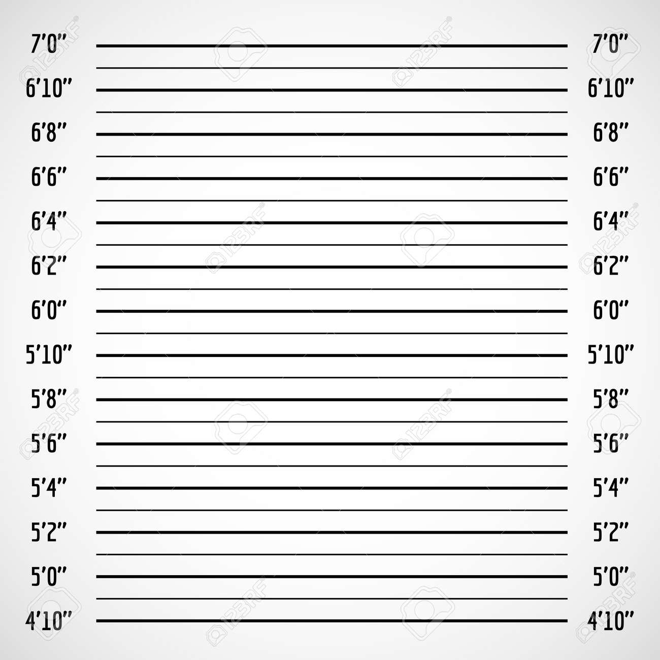 Blank criminal police lineup or mug shot vector background. Police wall for height line up photography illustration - 165950013