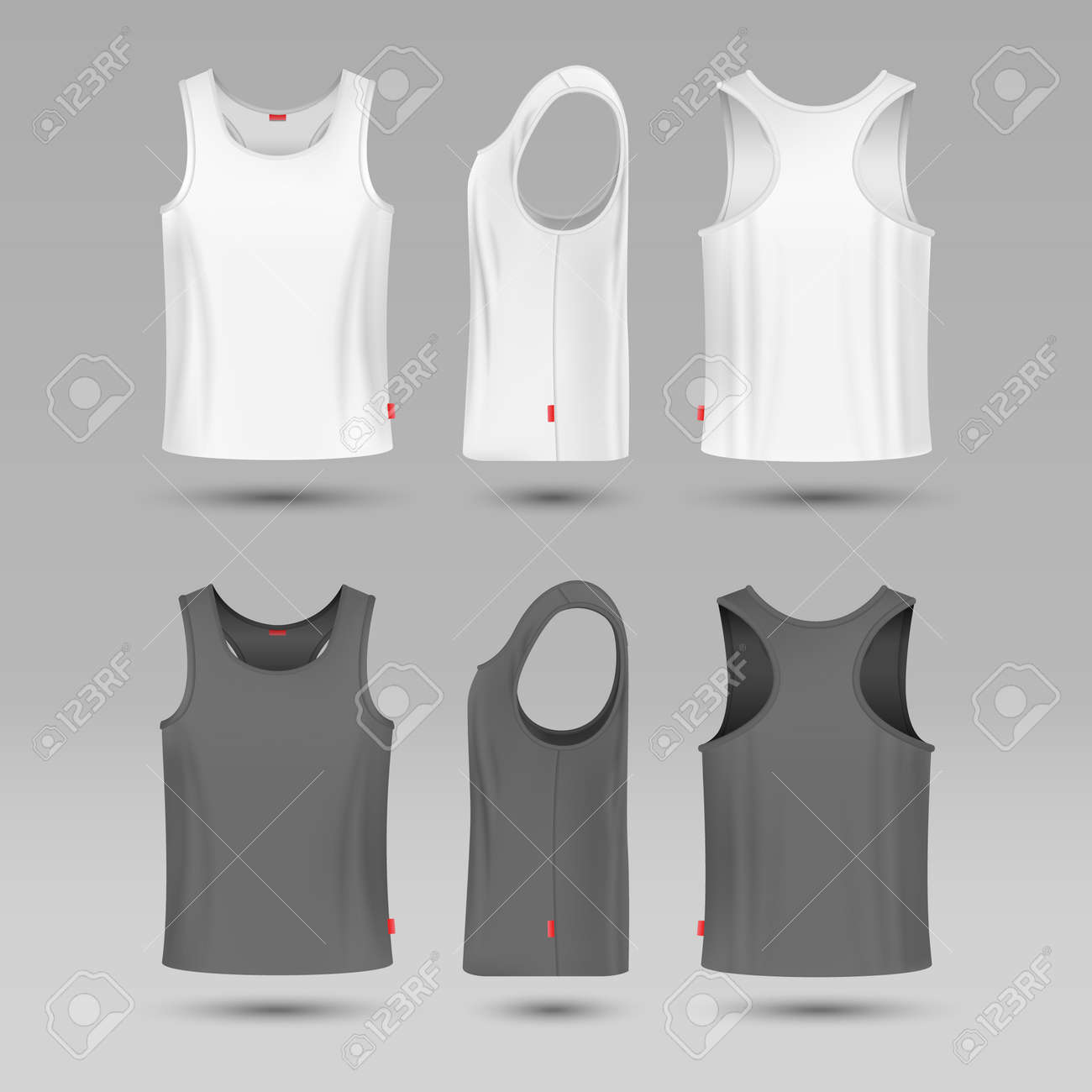 Mans white blank tank singlet. Male shirt without sleeves vector template. T-shirt front and back, illustration of mock up shirt - 165949939