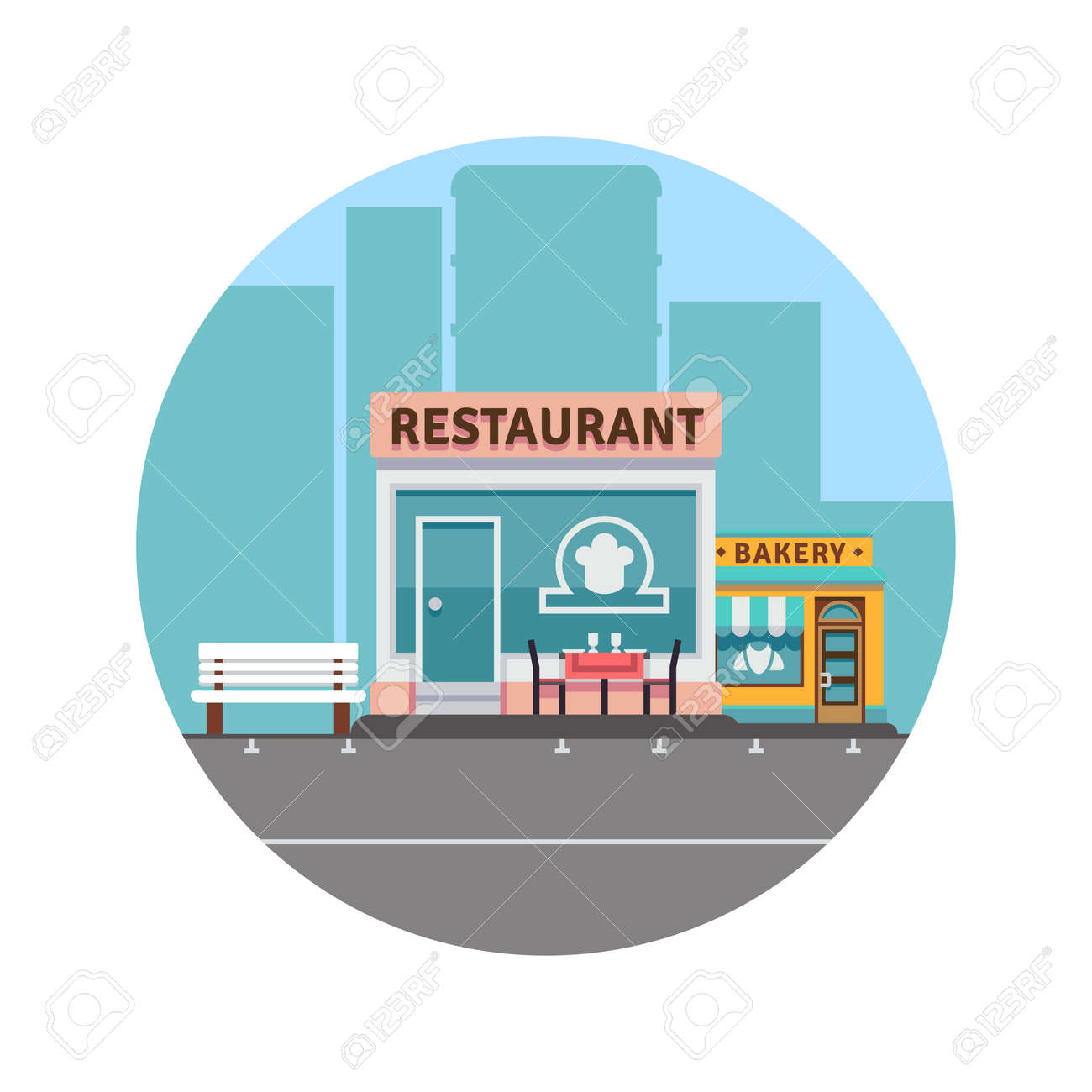City landscape concept with downtown silhouette and restaurant and bakery colorful front. Vector illustration - 166823895