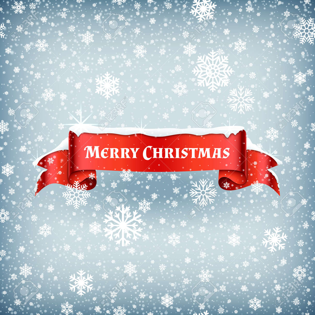 Merry Christmas celebration background with falling snow and red banner ribbon vector illustration. Xmas ribbon banner with snowflake - 166823937