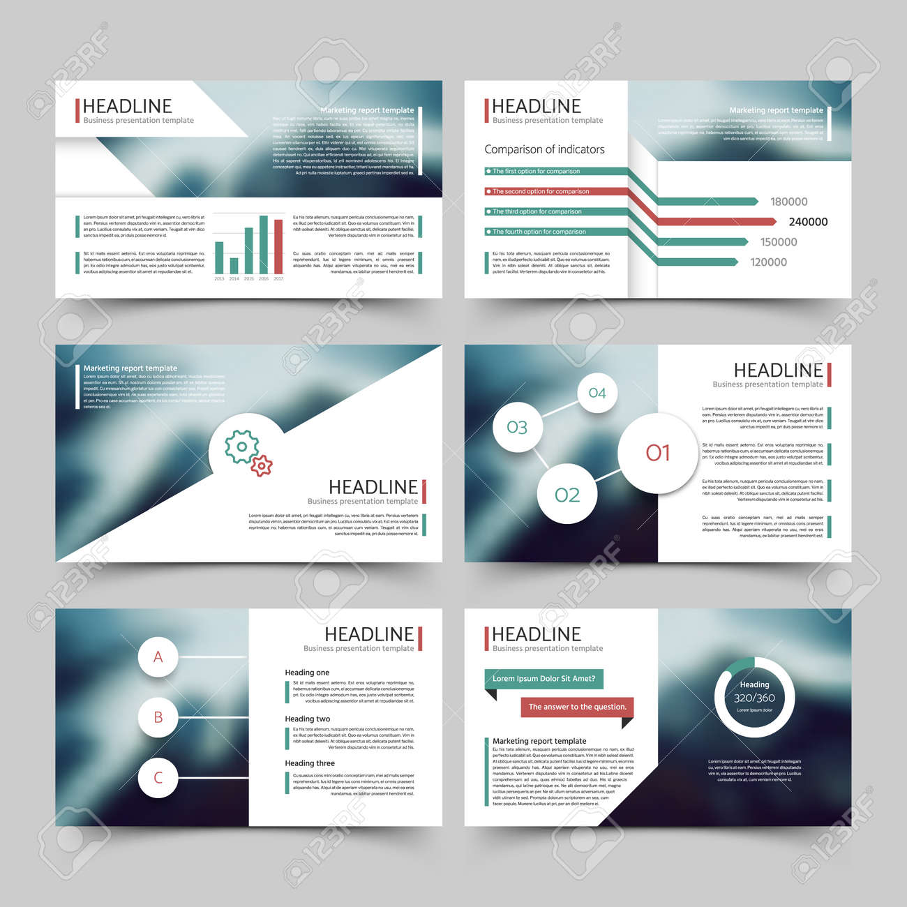 Business presentation corporate marketing report vector templates with diagrams and charts infographics elements. Brochure for presentation, business infographic and chart illustration - 166825054