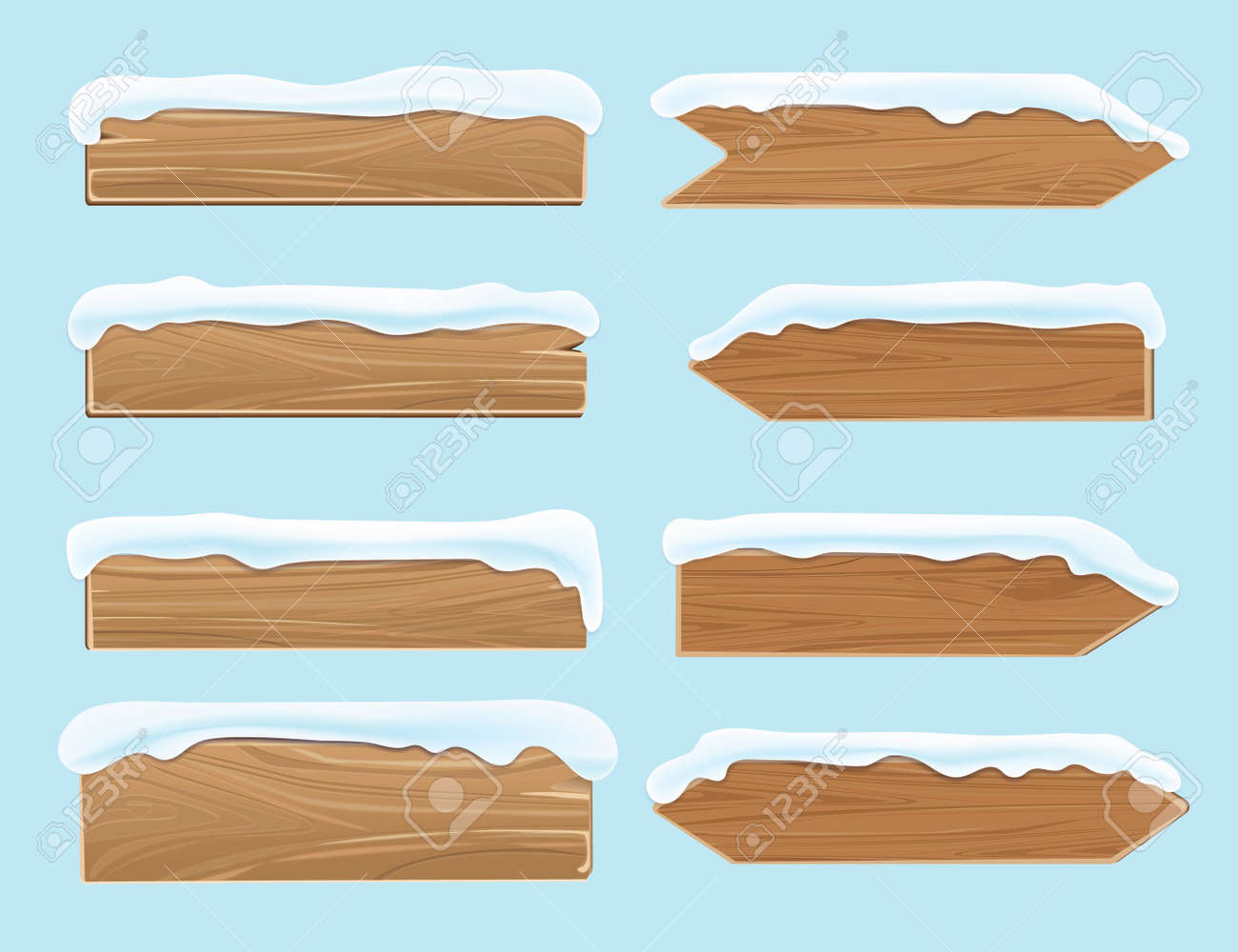 Wood banners planks covered with snow. Festive christmas vector decoration isolated. Wood board for christmas snow-capped illustration - 166825370