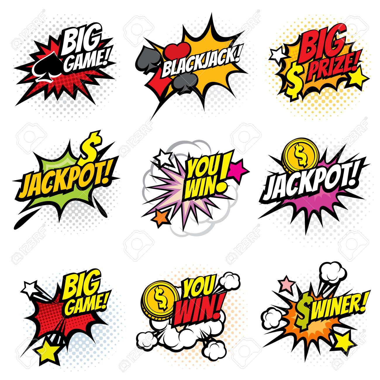 Vector winning game bubble stickers in retro pop art comic style. Explosion bubble winner comic speech. Vector illustration - 166826902