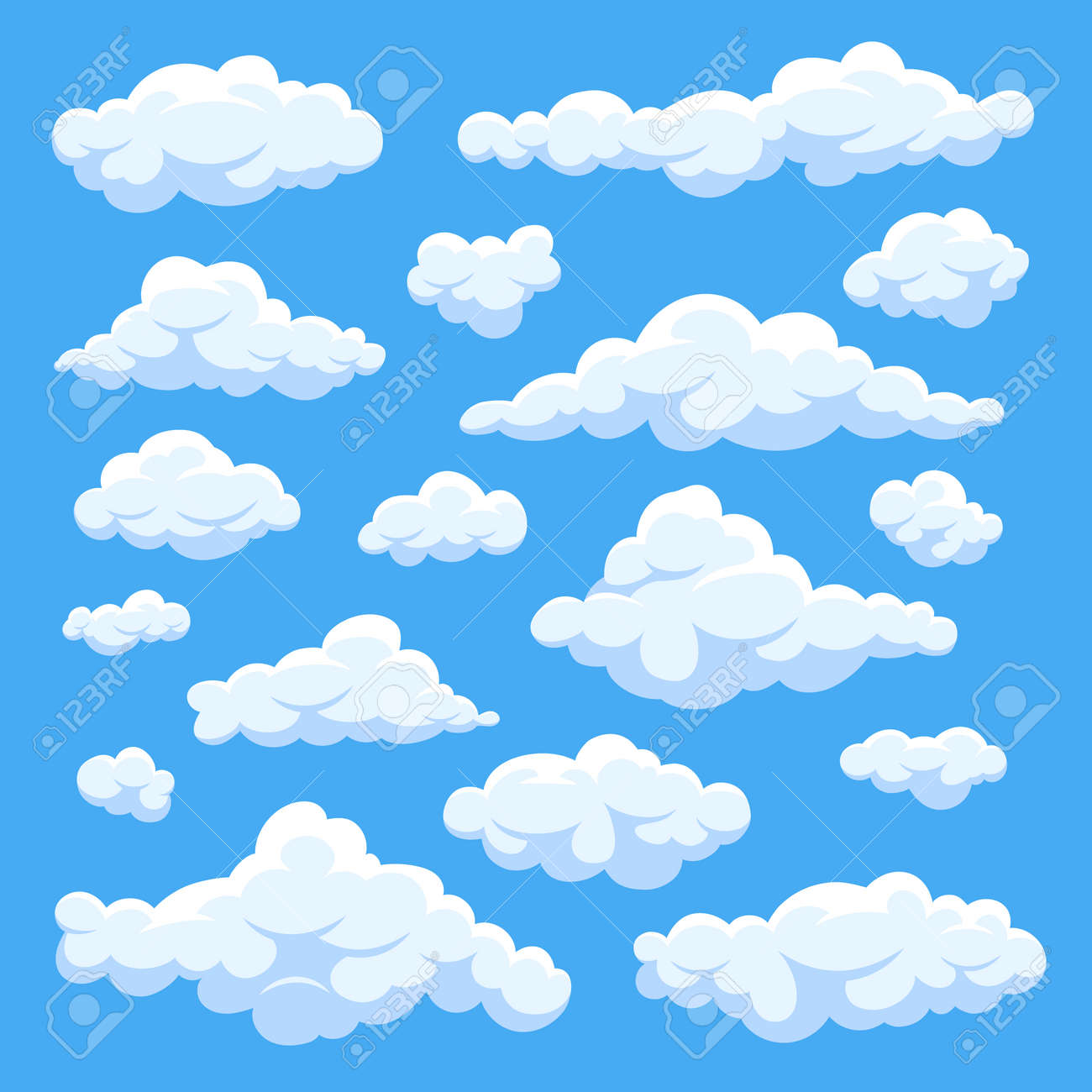 Fluffy white cartoon clouds in blue sky vector set. Cloudy day heaven. Cartoon cloudy fluffy illustration - 166828743