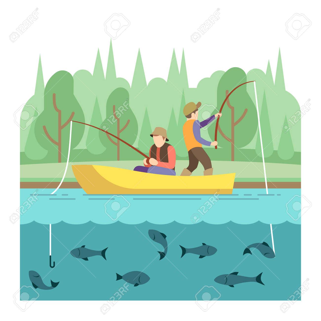 Outdoor summer activities. Fishing sport vector concept. Summer vacation fishing, illustration outdoor river boat - 166830243