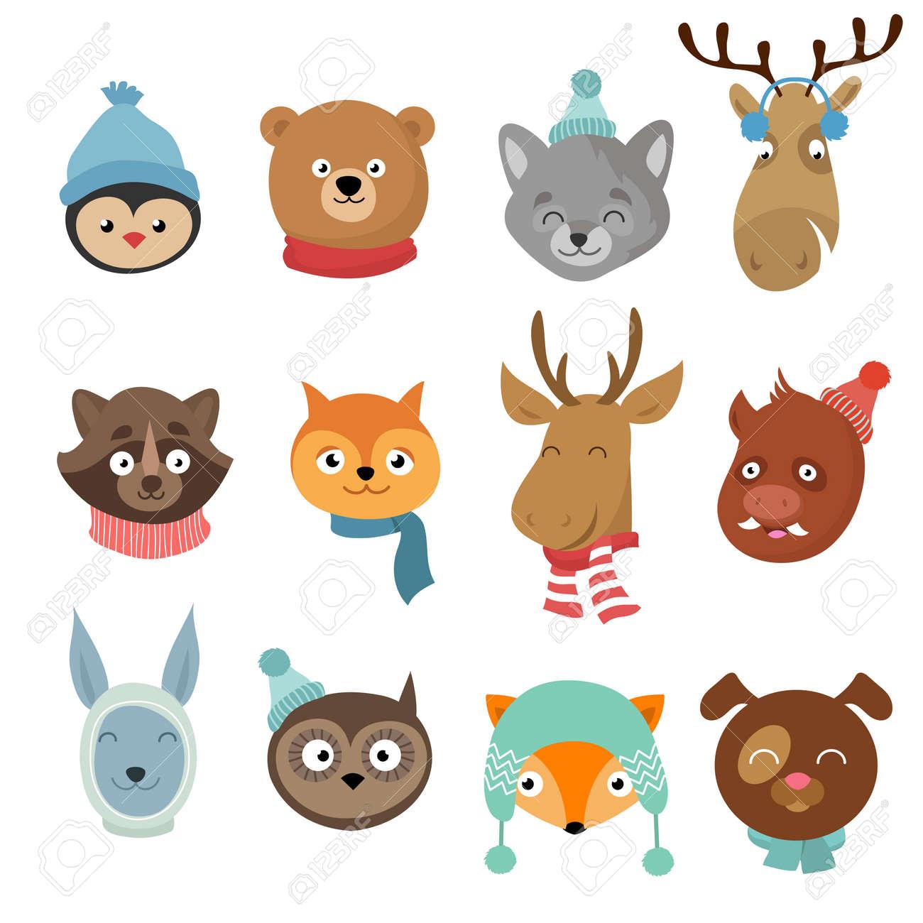 Winter xmas happy animals cartoon characters. Animals heads with neckerchief and hats vector set. Winter character animals illustration - 166830356