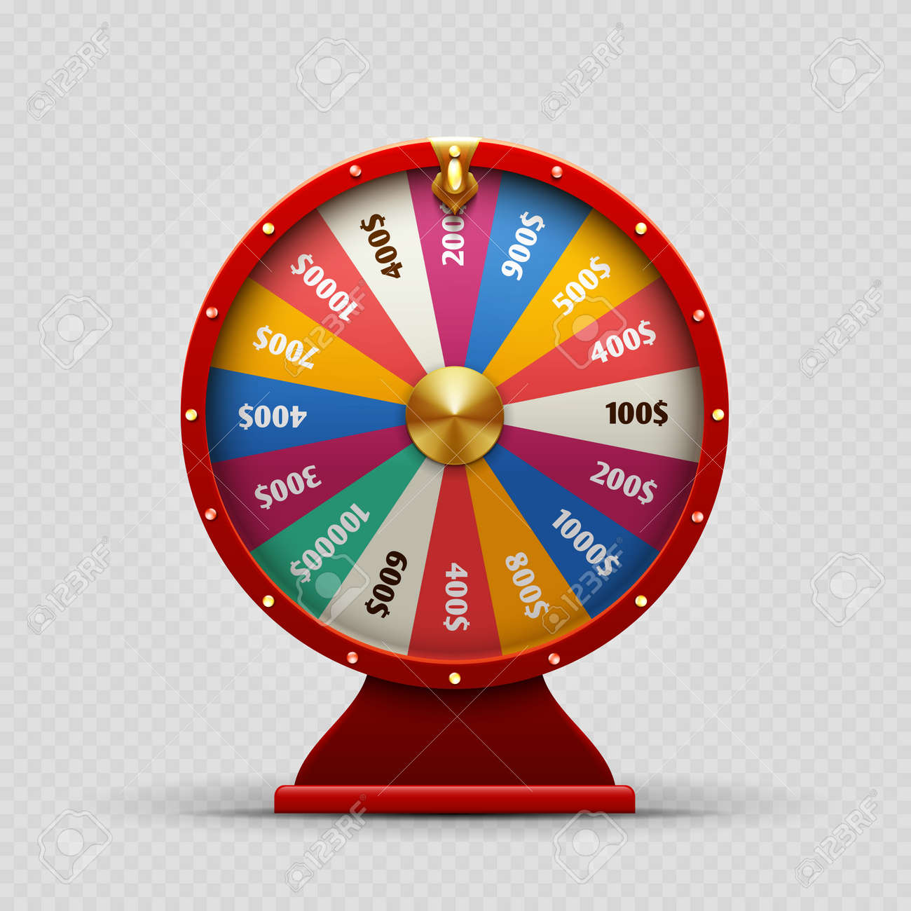 Colorful realistic casino fortune wheel on transparent background. Fortune wheel casino, money and lucky. Vector illustration - 166831258