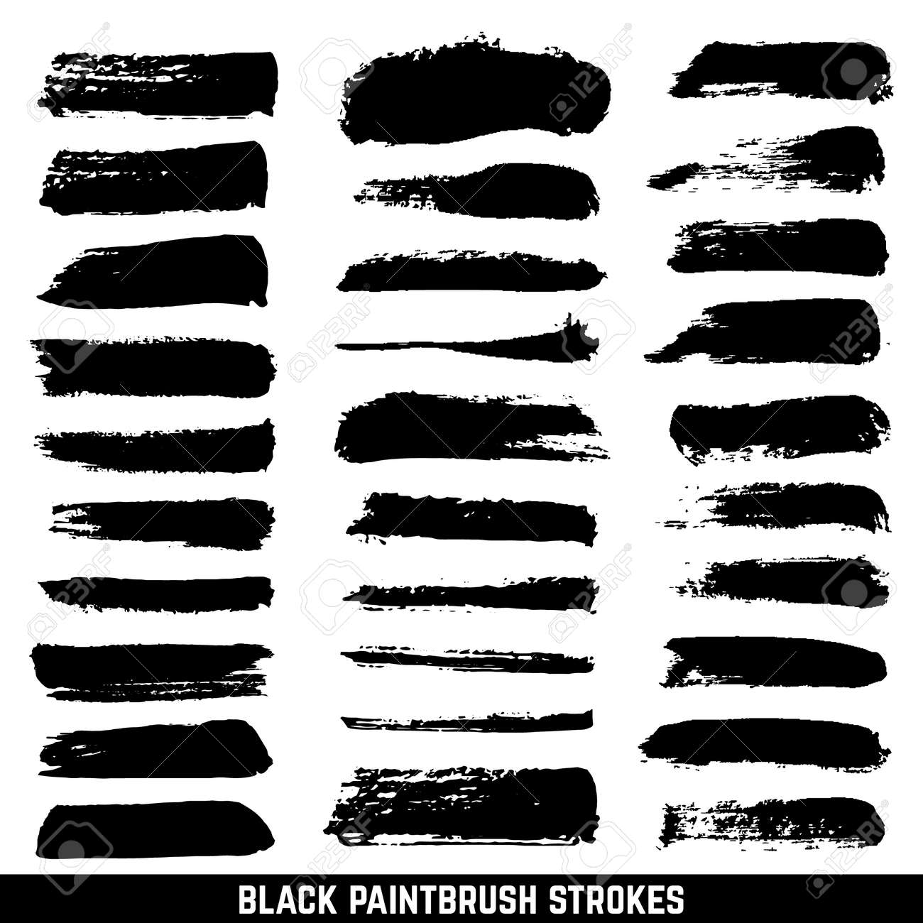 Vector artistic ink paint blob brushes. Inked brushed strokes isolated. Dirty black brushstrokes collection. Illustration paintbrush drawing ink stroke - 166820318