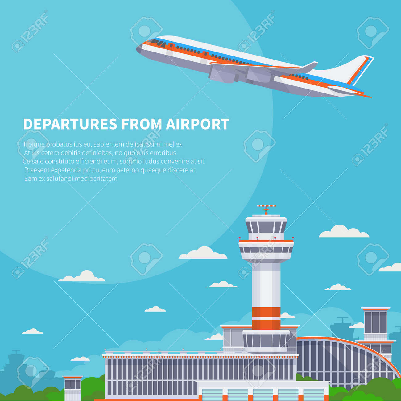 Airplane takeoff on runway in international airport. Tourism and air travel vector concept. Airplane departure from international terminal illustration - 167388675