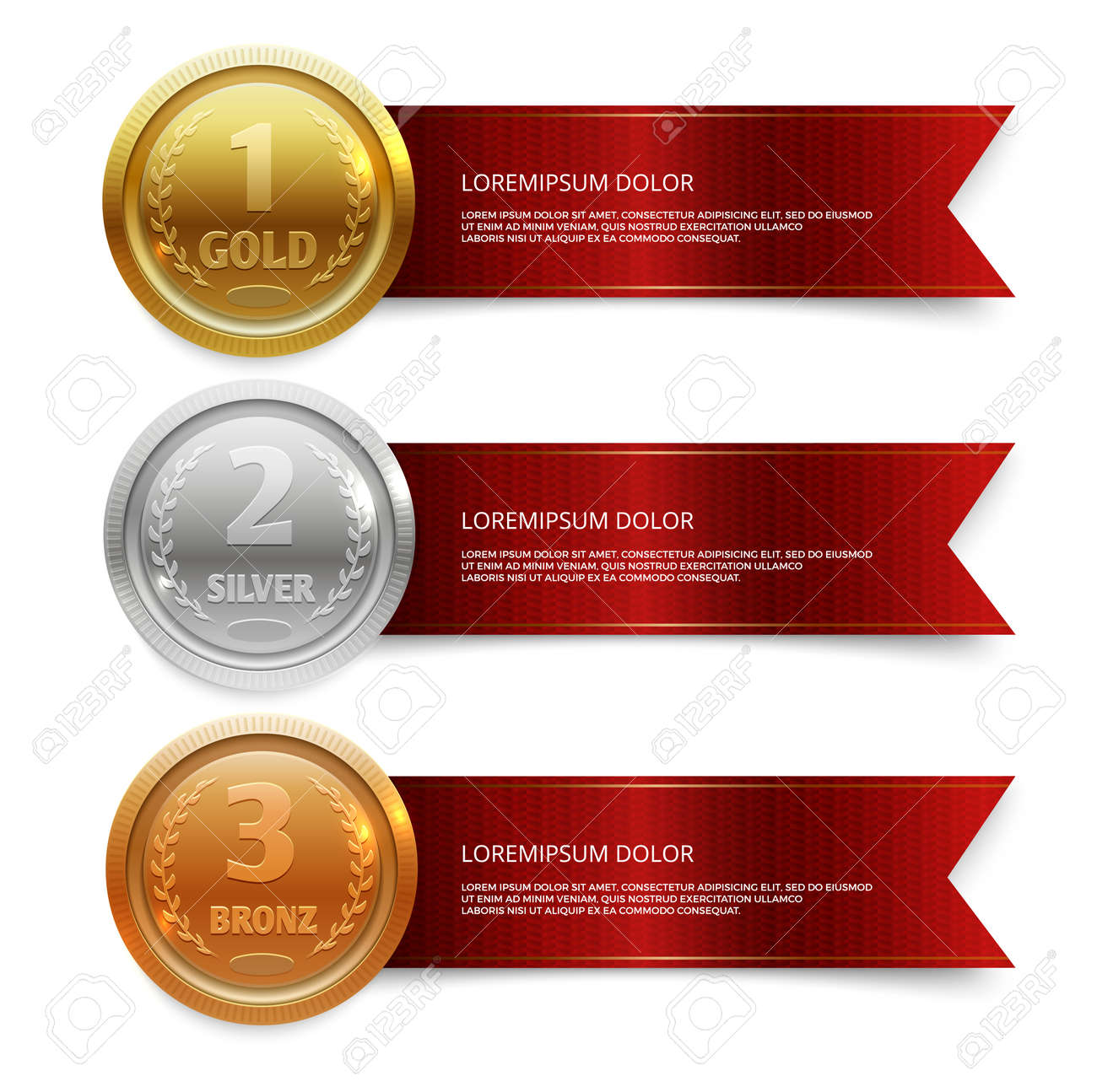 Champion gold, silver and bronze medails with red ribbon banners. Winner award competition, prize medal and banner for text. Vector illustration - 167390355