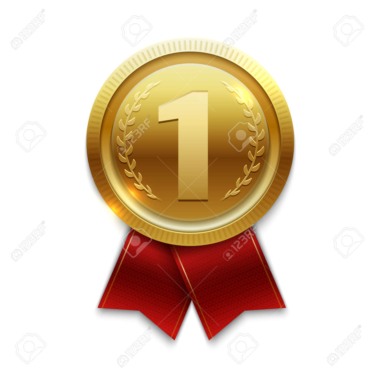 Winner gold medal with red ribbons. Vector illustration - 167390539