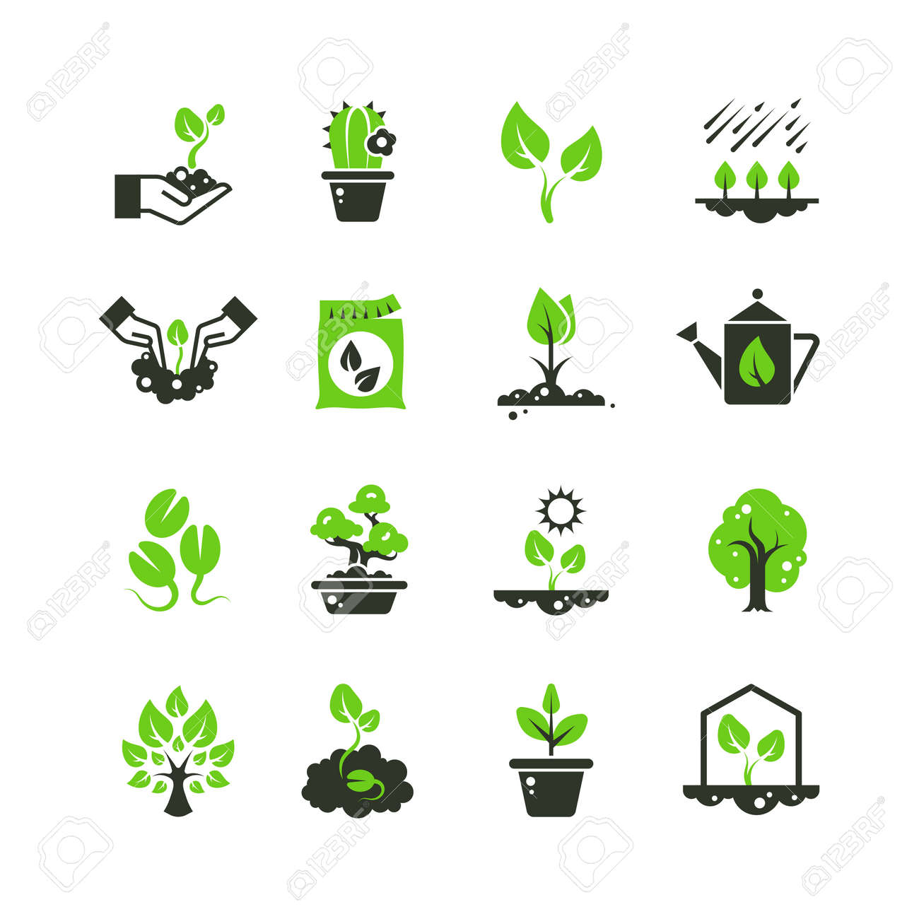 Tree sprout and plants vector icons. Seedling and hand planting pictograms. Seedling and growth tree, gardening and growing illustration - 167437275