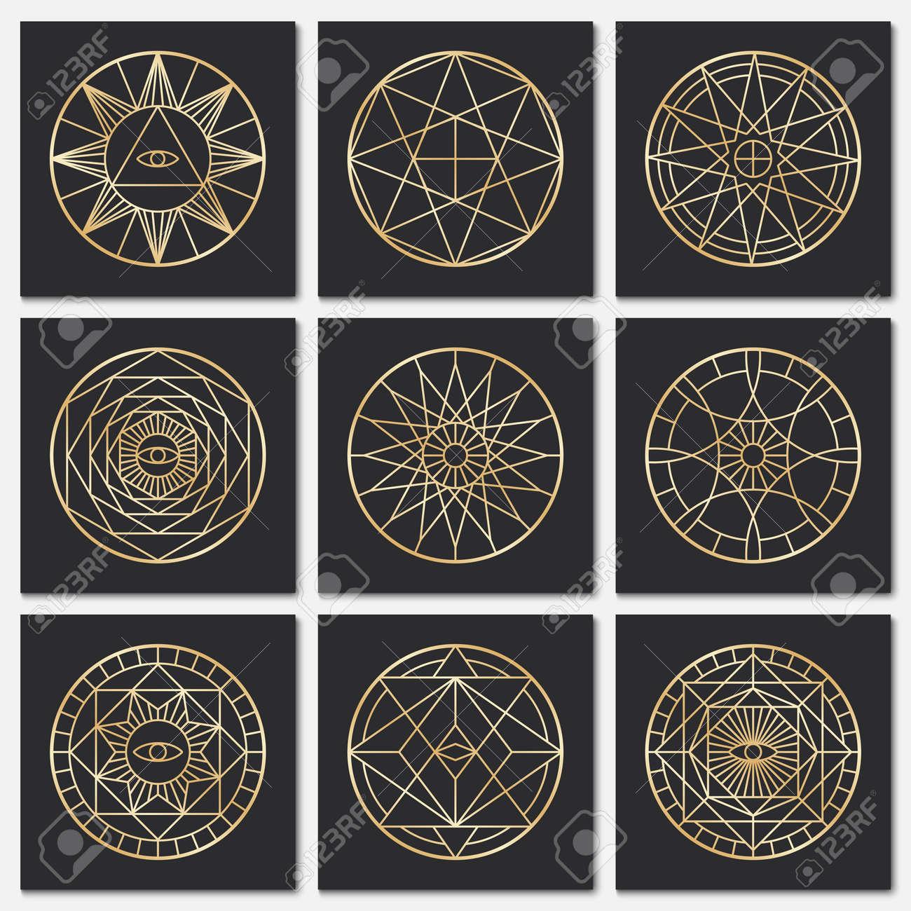 Ancient masonic pentagrams. Steampunk gold sacred vector symbols on dark backgrounds. Mystery circle esoteric symbol, freemasonry geometry spirituality illustration - 167437354