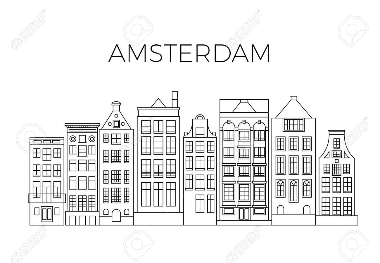 Amsterdam houses city panorama. Dutch street buildings vector skyline. Skyline street city architecture line style illustration - 167440503
