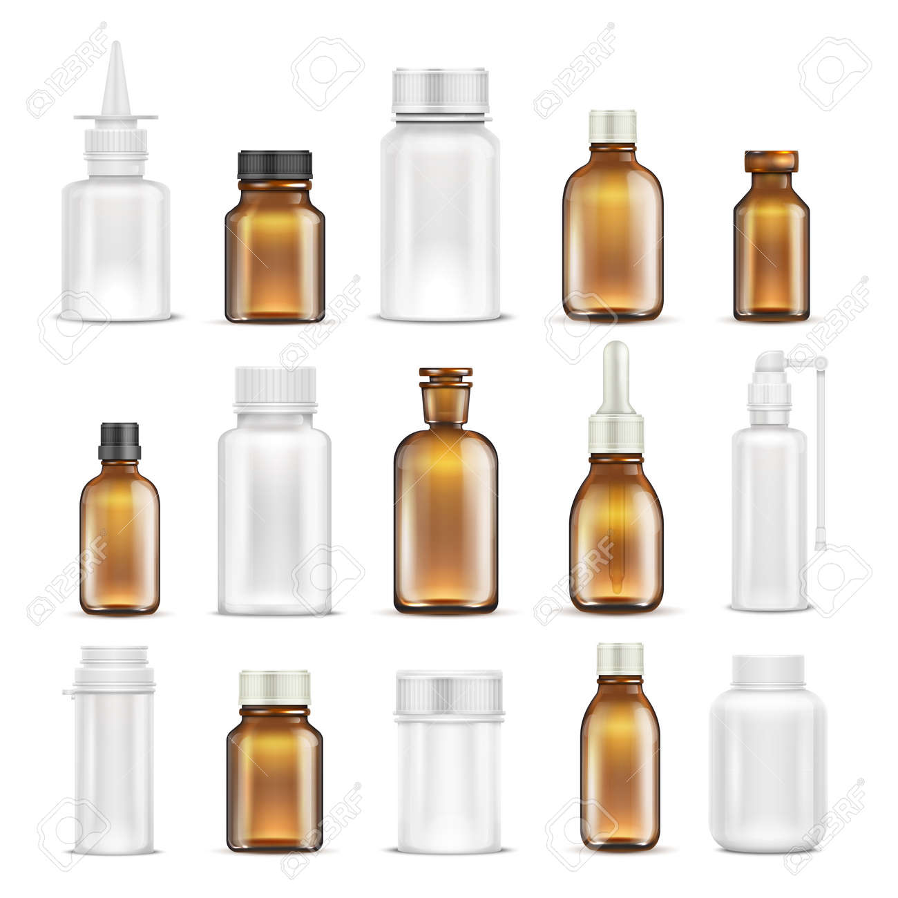 Medicine glass and plastic blank bottles isolated vector set. Bottle medicine container for care health, healthcare vitamin pharmaceutical illustration - 167441094