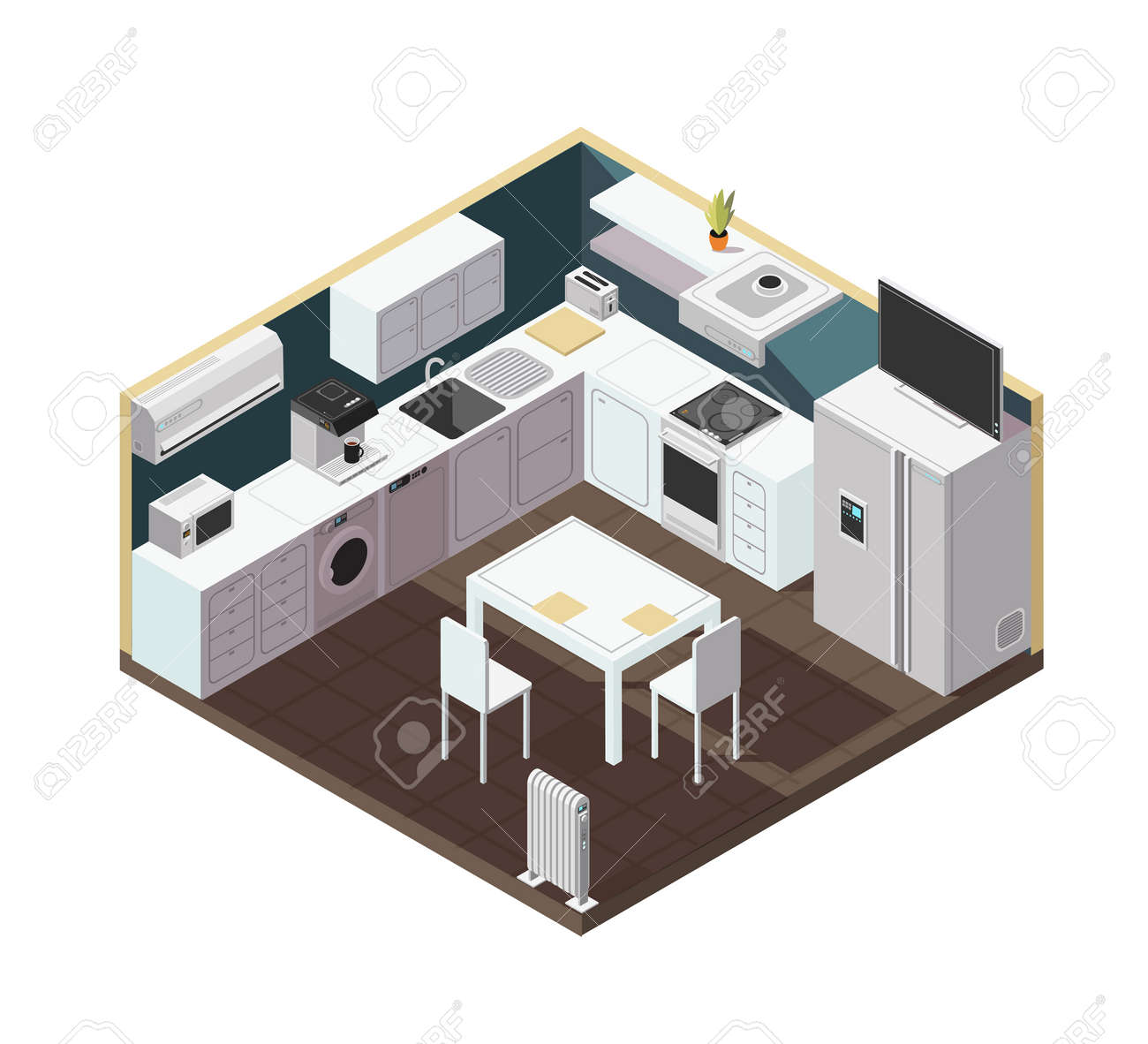 Isometric 3d kitchen interior with household appliance, equipment and furniture vector illustration. Kitchen and stove, household isometric equipment for cooking - 167441637