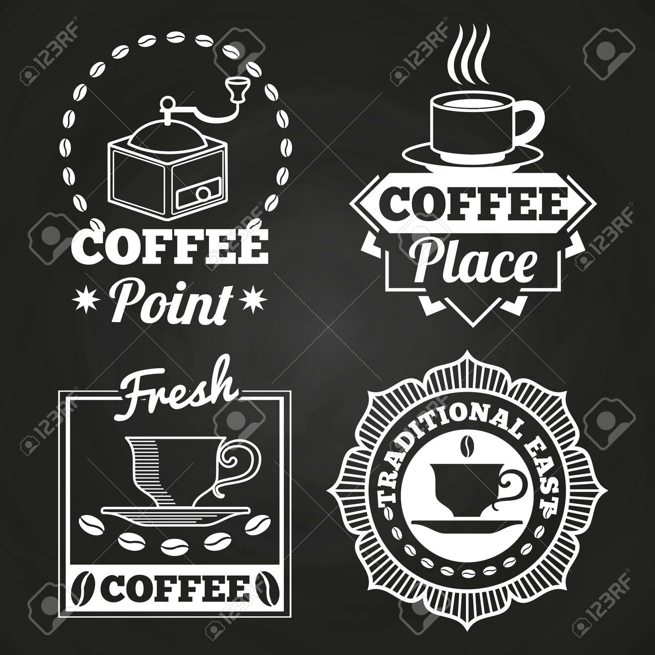 Coffee market shop and cafe label collection on chalkboard. Vector illustration - 167442384