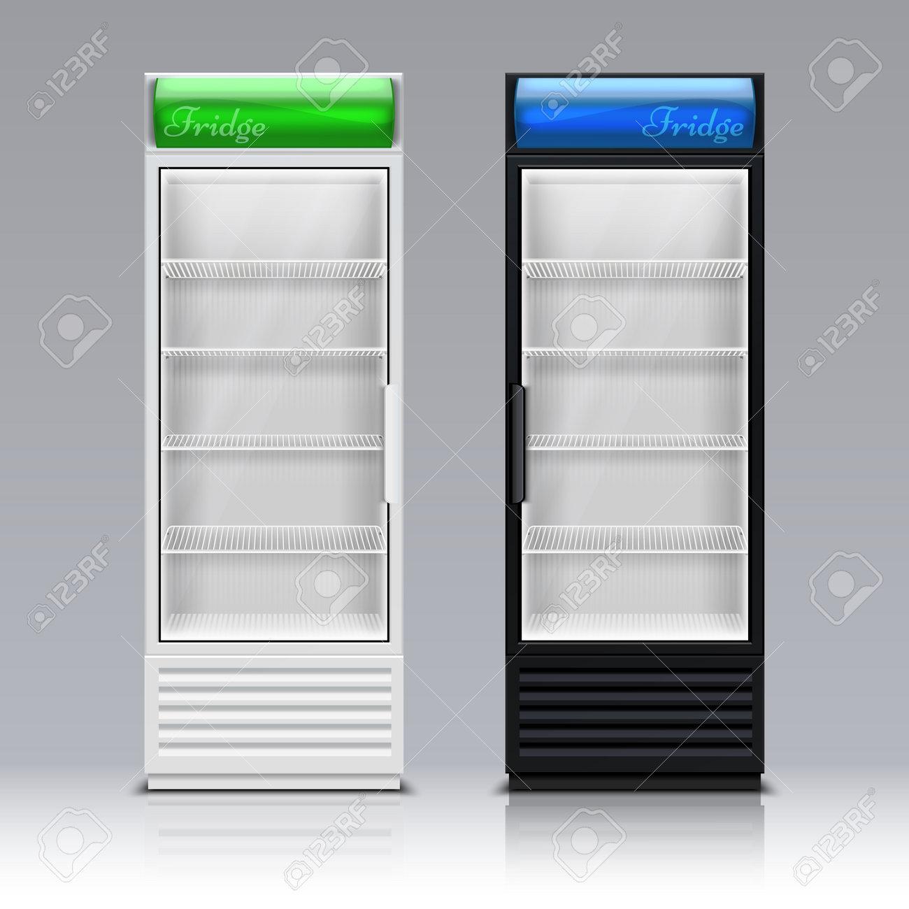 Modern commercial display fridge. Supermarket freezer equipment for drinks vector template. Refrigerator equipment for supermarket, appliance freeze for beverage and food illustration - 167212518