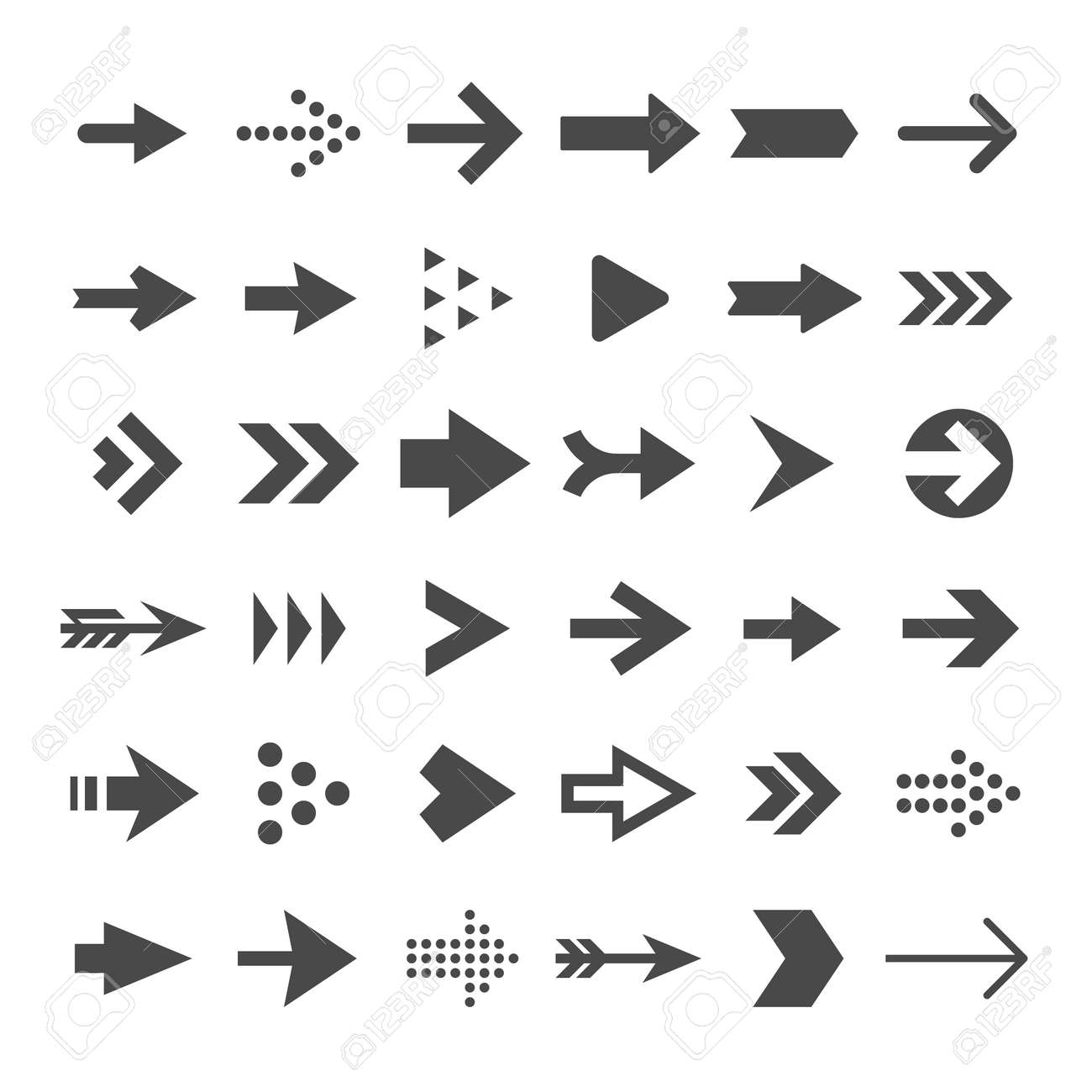 Arrow button icons. Right arrowhead signs. Rewind and next vector symbols. Set of arrow right and forward, directional and orientation pointer illustration - 167183075