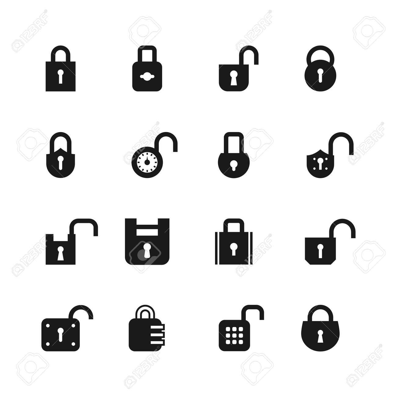 Open and closed padlock icons. Lock, security and password vector isolated symbols. Open lock, safety protection illustration - 168058512