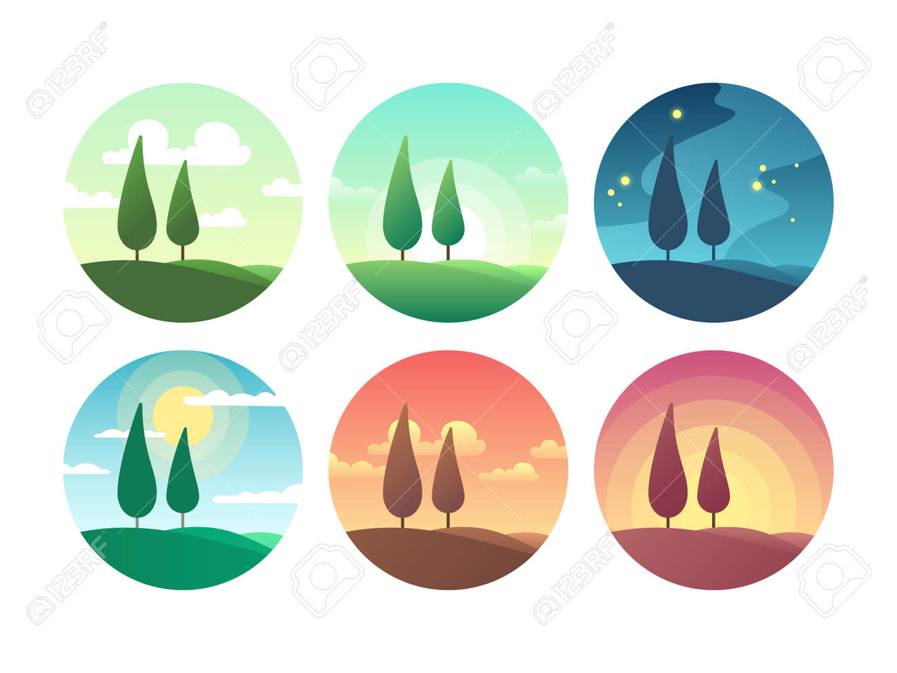 Beautiful summer landscape at different times of day. Sunrise morning, sunny day, sunset evening and starry night vector icons. Sunrise and sunburst, sunshine lighting morning coolection of icons - 168058556