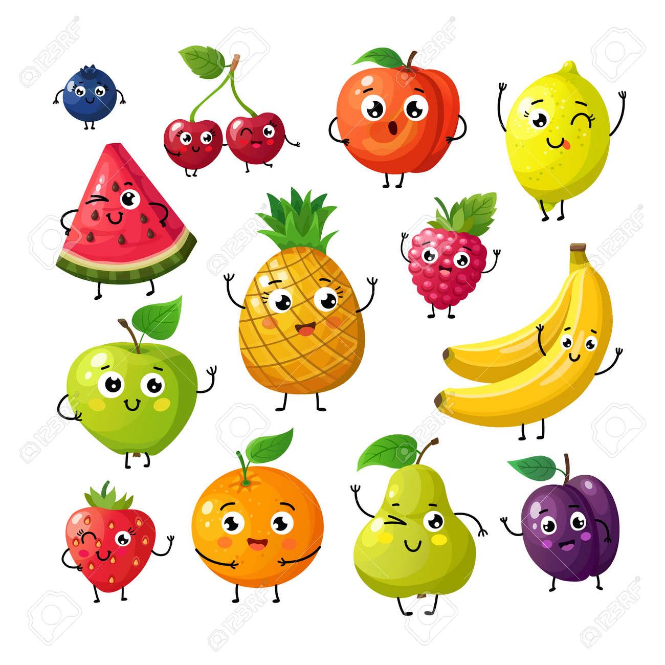 Cartoon funny fruits. Happy kiwi banana raspberry orange cherry with face. Summer fruit and berry vector characters isolated on white. Fruit kiwi and banana, orange and strawberry illustration - 168059352