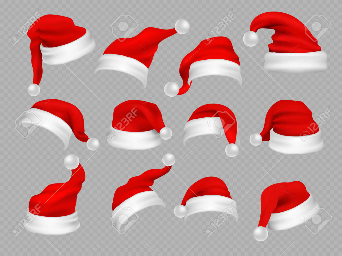 Big set of realistic Santa Hats isolated on transparent background. Vector santa claus hat colllection, holiday cap to xmas illustration - 168200730