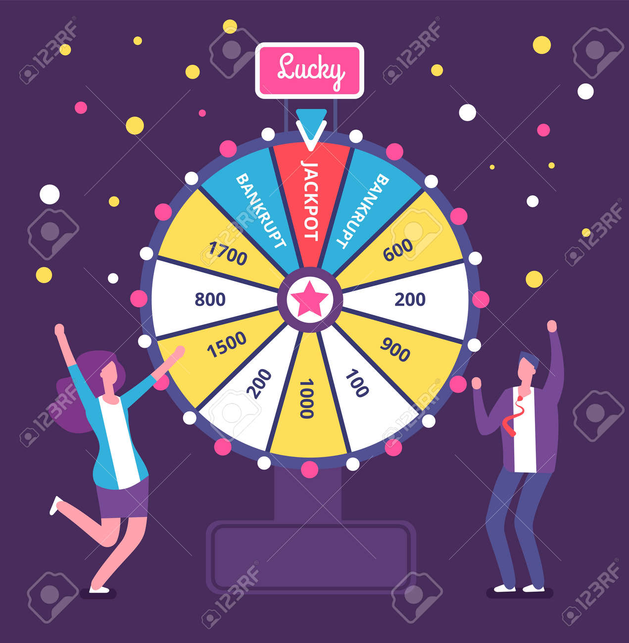 Fortune wheel with people. Man and woman spinning roulette wheel. Risk game and casino lottery vector concept. Illustration of winner people woman and man in casino - 168211499
