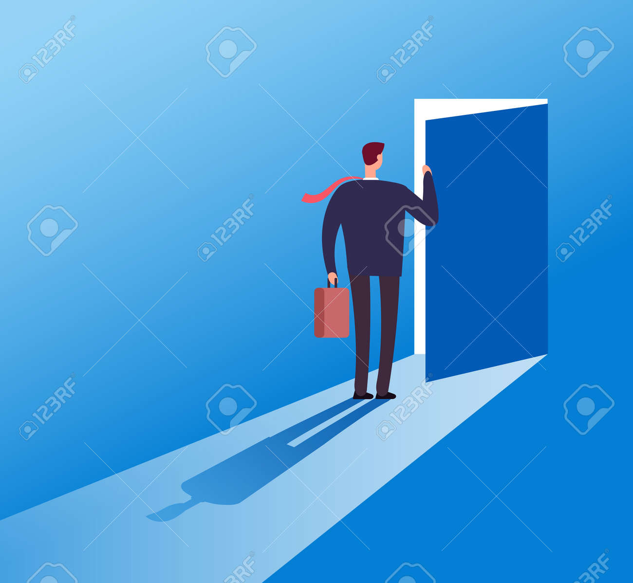Businessman opening secret door. Opportunity, accessible entering. Risk solution and leadership business vector concept. Illustration of businessman open door secret, leadership challenge opportunity - 168211814