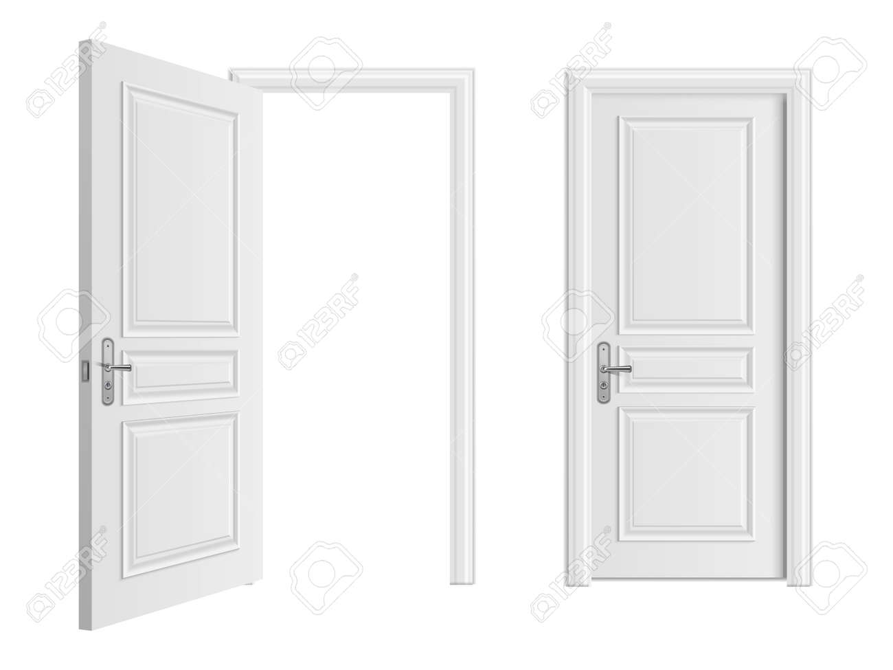 Open and closed white entrance realistic door isolated on white background. Door to house or room, enter doorway closed illustration - 168217411