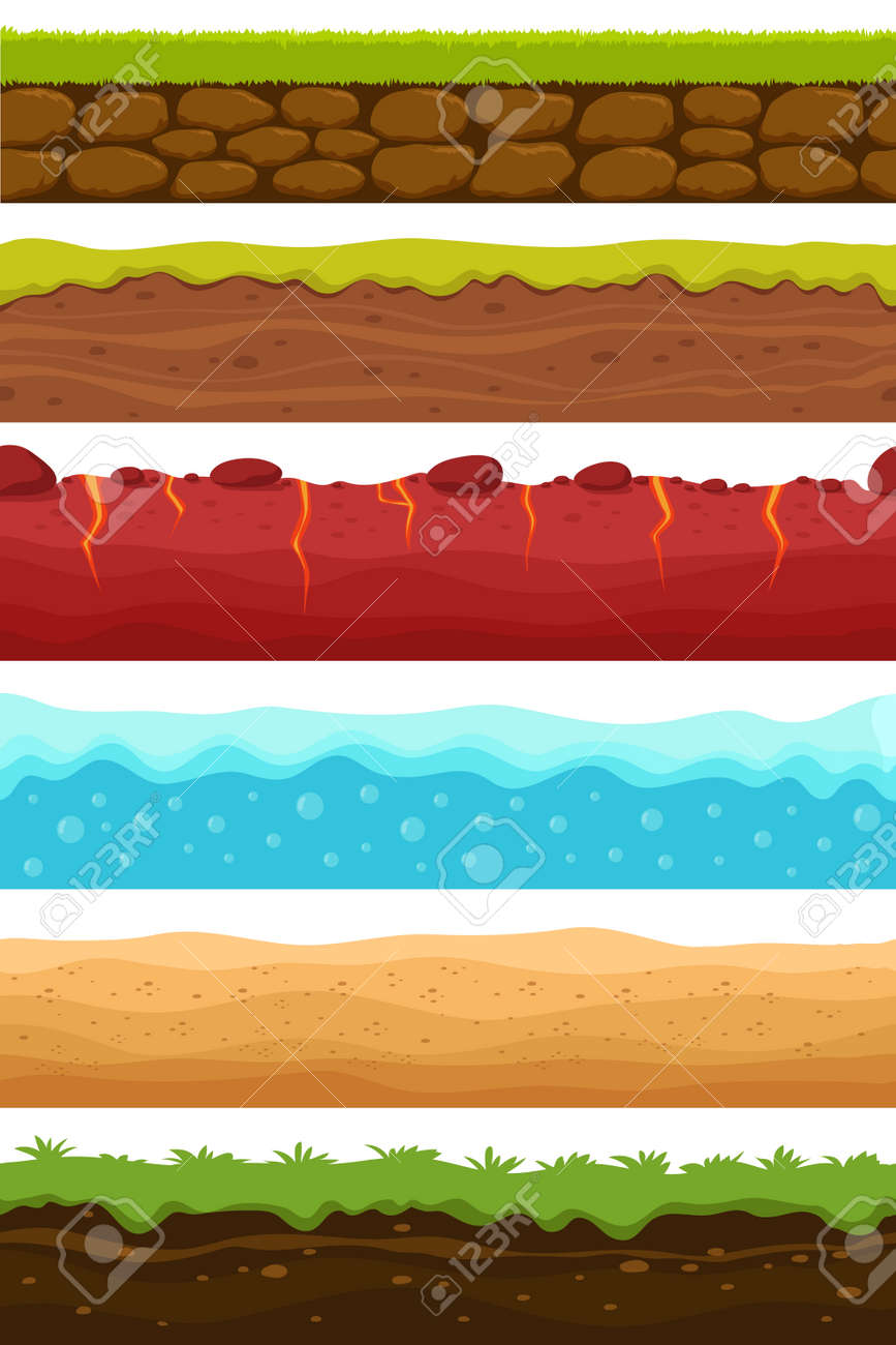 Seamless grounds. Soils, water and land levels with grass, sandy desert. Cartoon vector endless textures set. Illustration of ground and soil horizontal, water and grass for game surface - 168217683