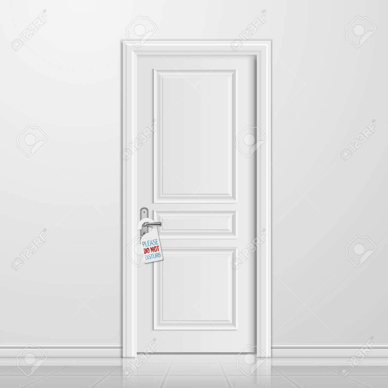 Vector realistic closed white entrance door with do not disturb blank. Interior with door illustration - 168217686