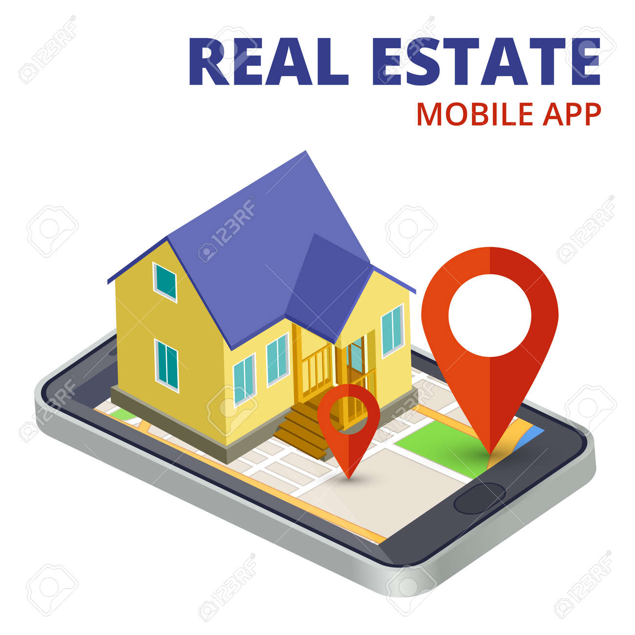 Isometric real estate mobile app with phone and 3d house vector. Illustration of real estate mobile app - 168324415