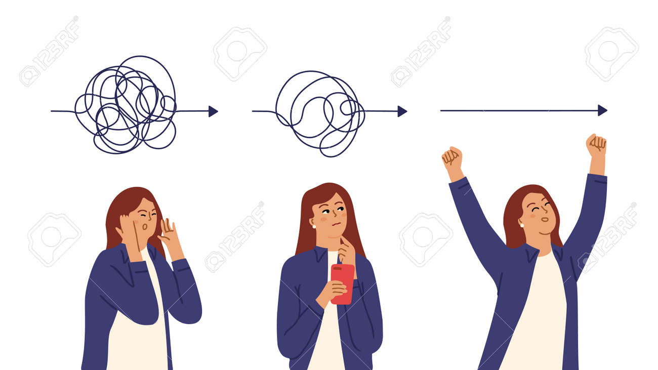 Simplicity process. Girl simplifies matter, thoughtful business woman. Tired confused, searching and happy successful female vector character. Illustration brainstorming and brainstorm solution - 169499680