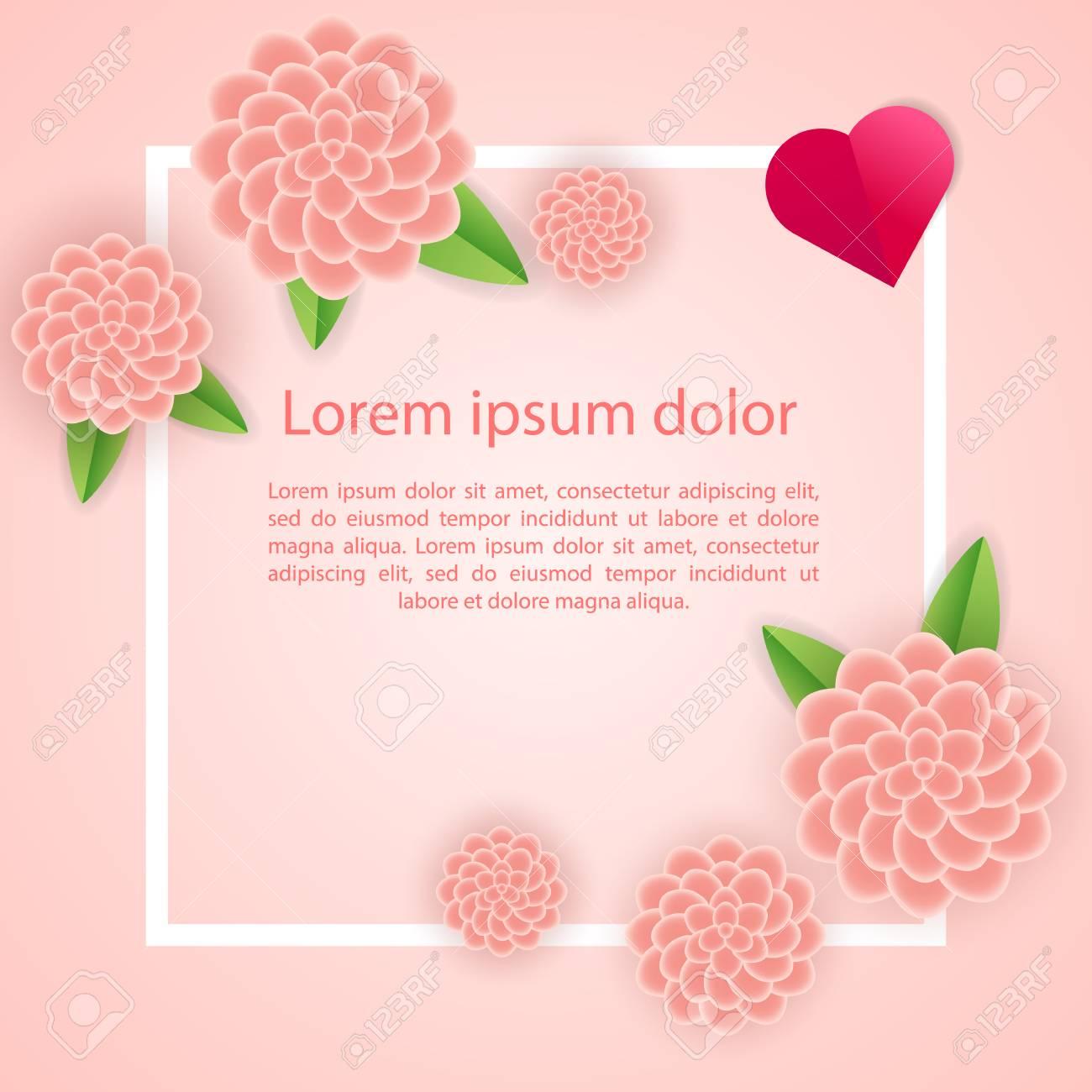 Decoration D Encadrement Romantique Avec Coeurs Fleurs Et Cadre