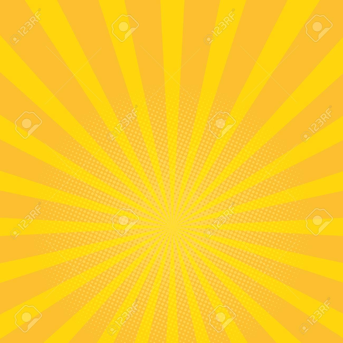 70fb02cdd7a80 Beautiful summer sunburst background. yellow rays pop art background. retro  illustration. Sun rays
