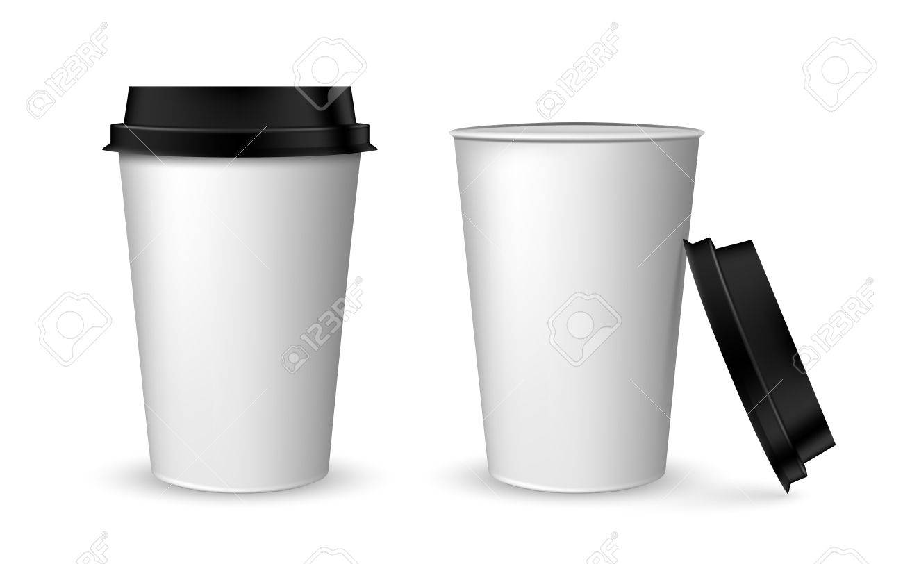 blank realistic coffee cup mockup. realistic paper coffee cup