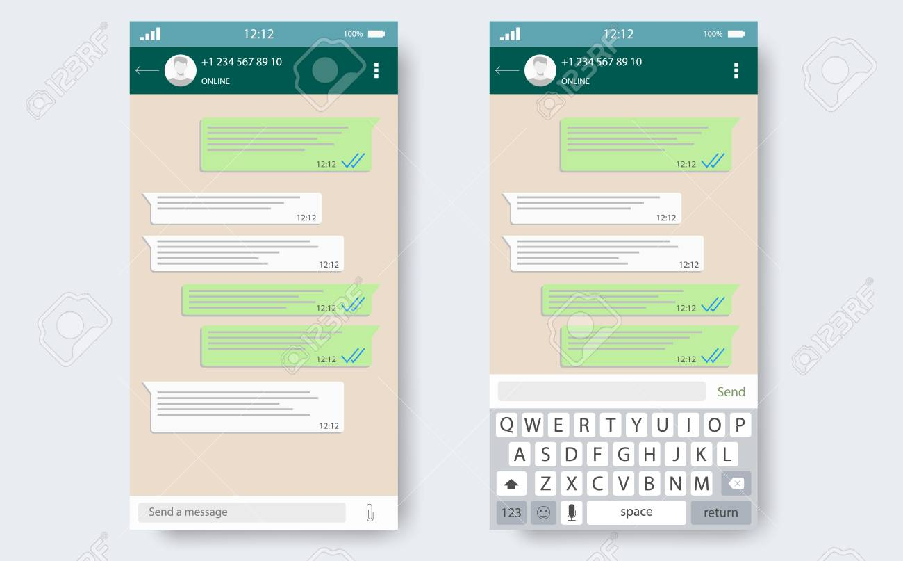 chat app template whith mobile keyboard social network concept