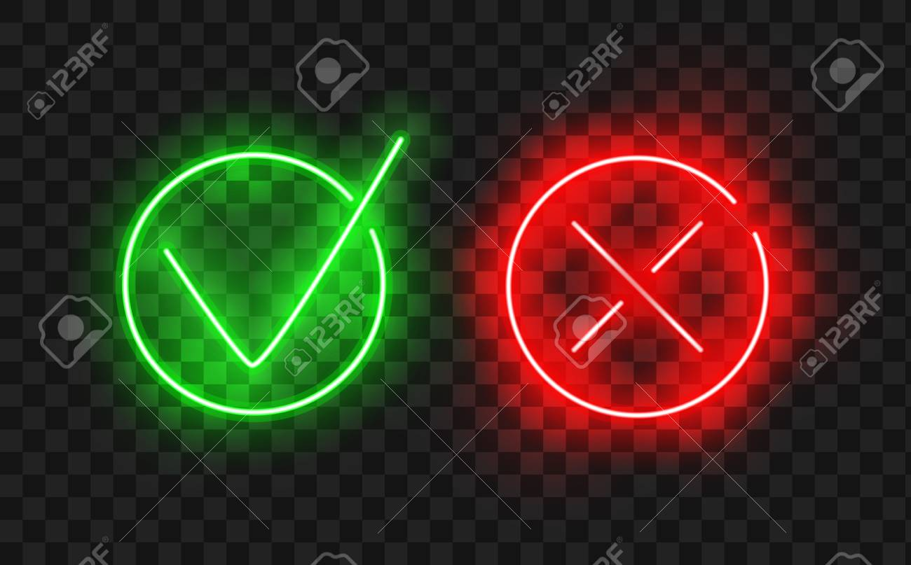 Tick icon set. Stylish neon check mark icon set in green and red color, vector illustration. Check Marks painted with a brush, isolated on white. Grunge checkmarks in checkbox. - 88304733