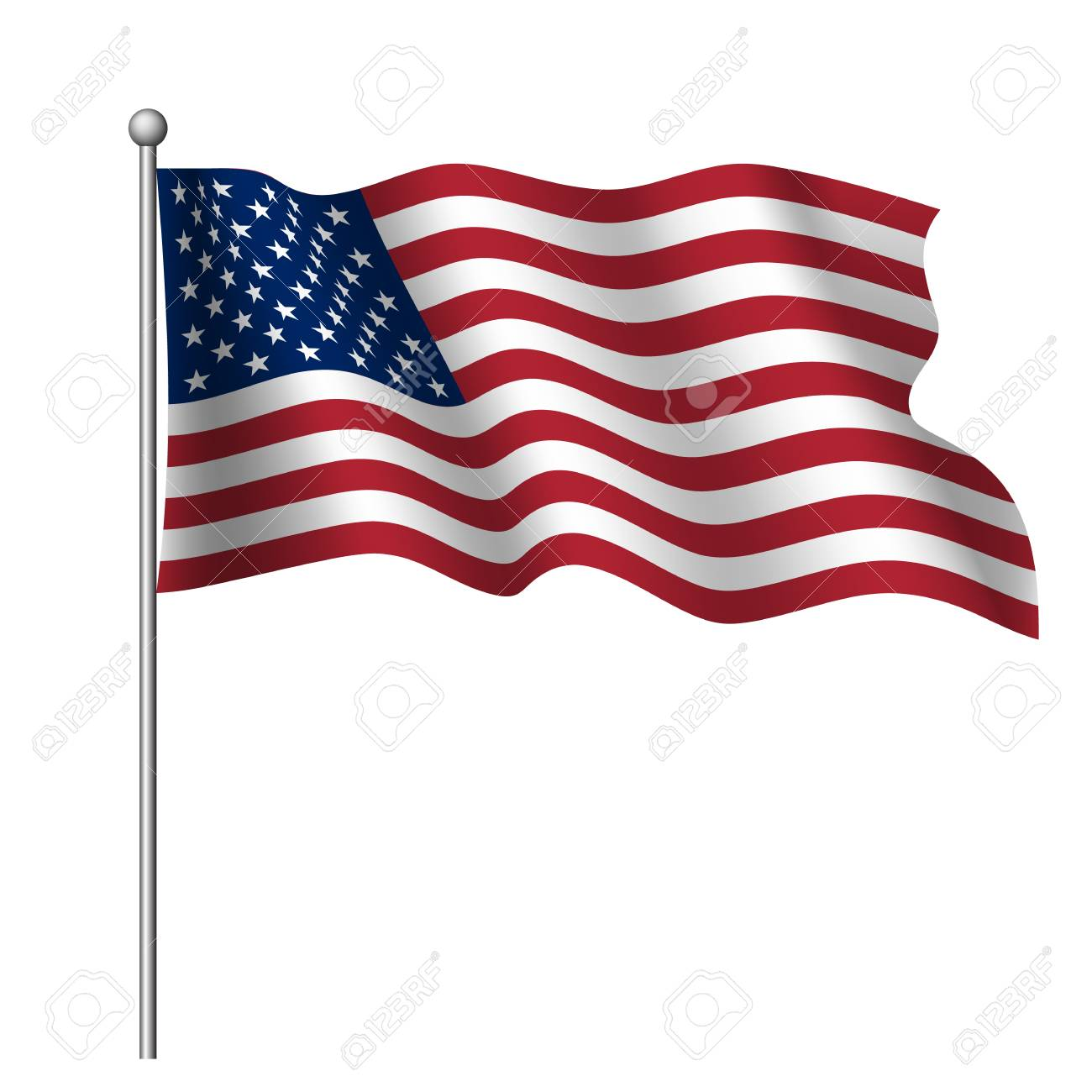 Waving National Flag Of United States Of America Isolated On