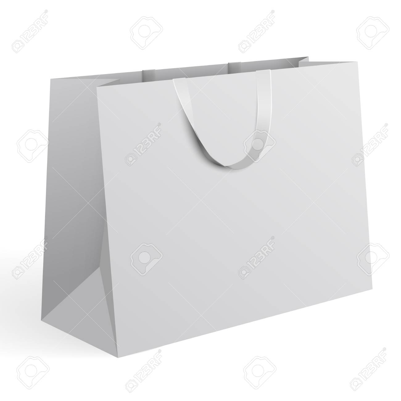 3d Realistic Vector Illustration Of White Paper Shopping Bag ...