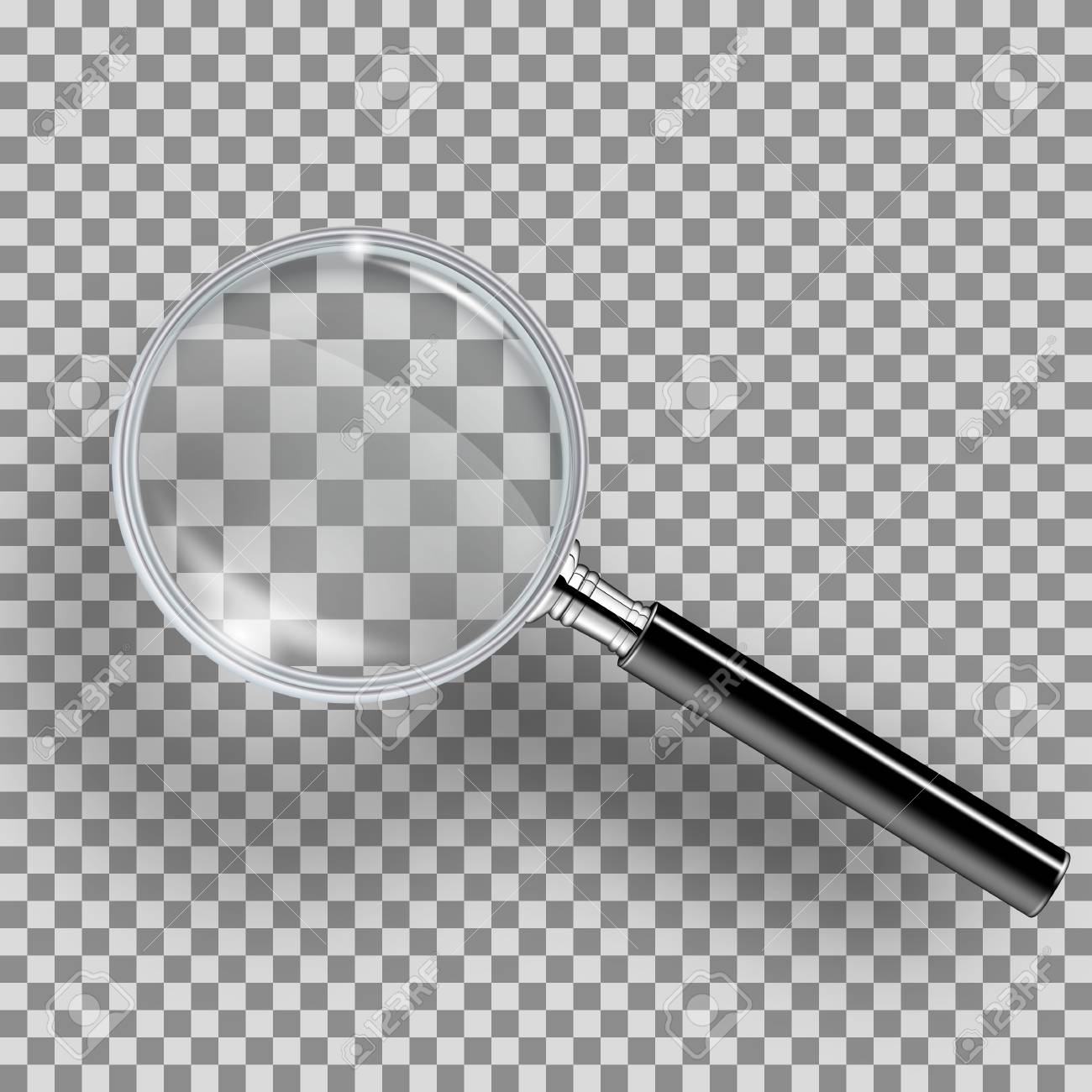 Realistic loupe with black handle, highlights, shadow  Magnifying