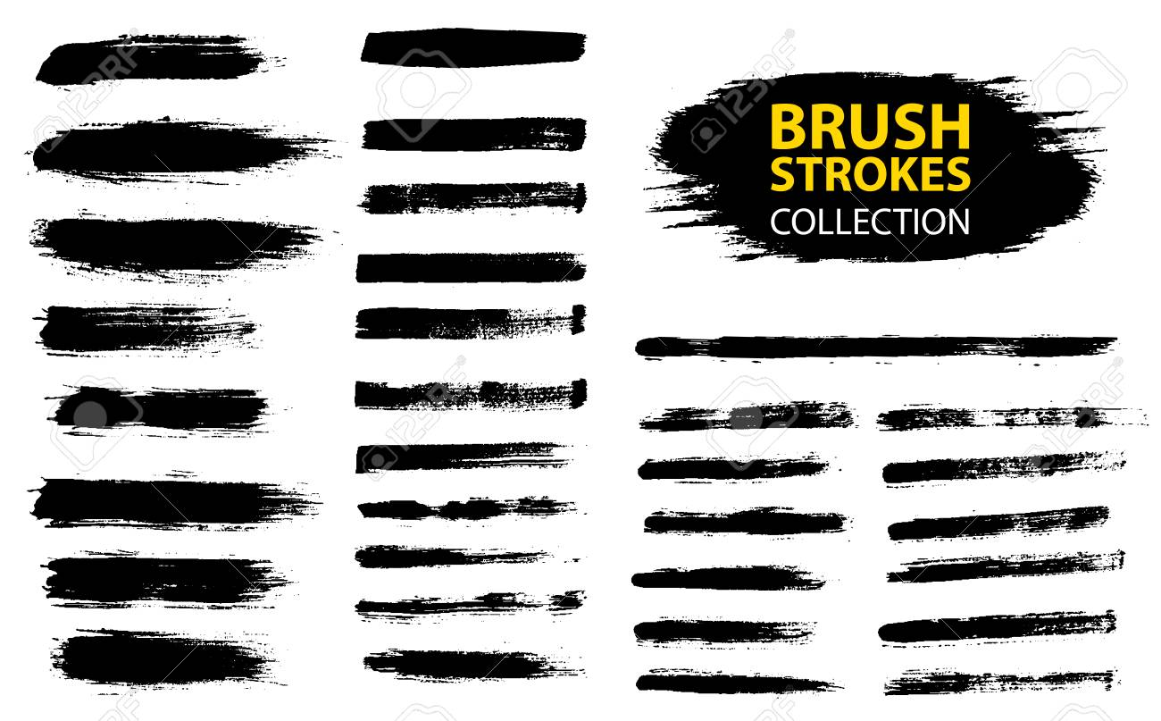 Vector large set different grunge brush strokes. Dirty artistic design elements isolated on white background. Black ink vector brush strokes - 95362277