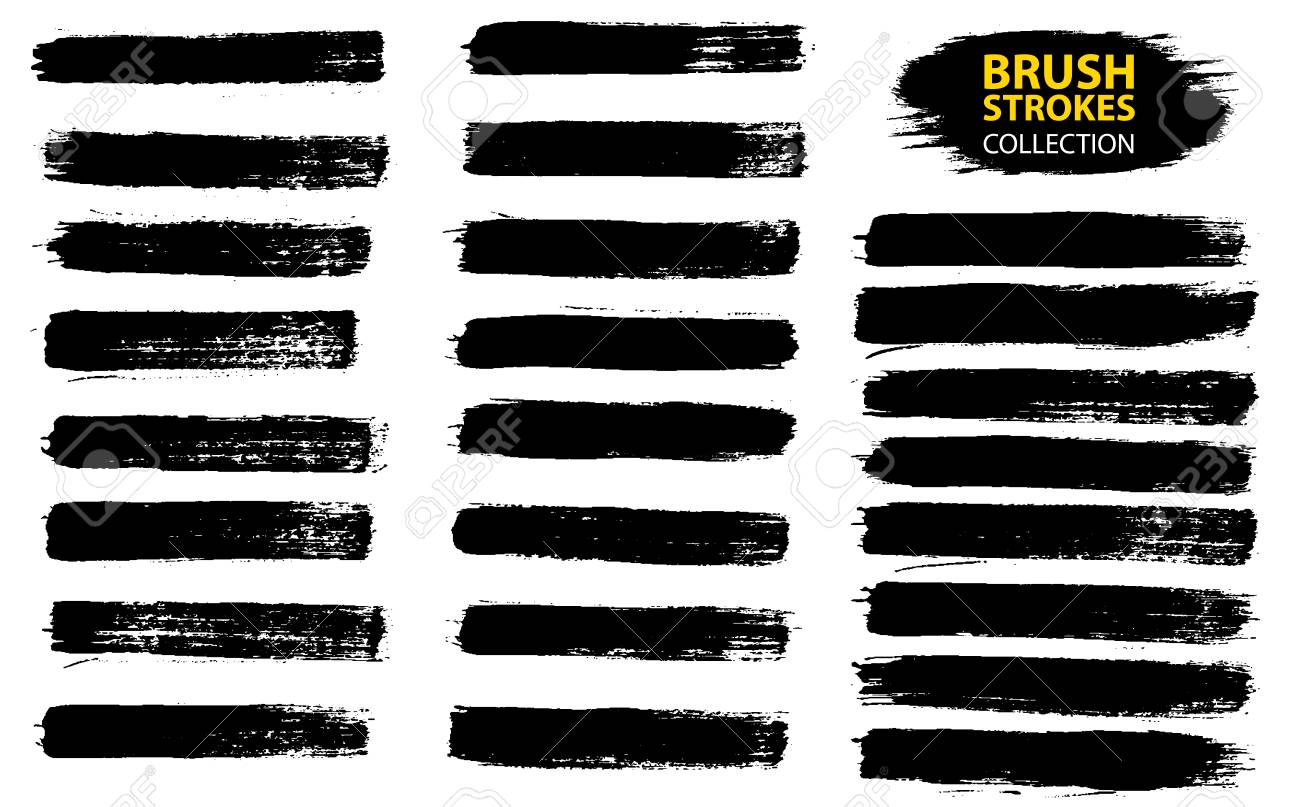 Large set different grunge brush strokes. Dirty artistic design elements isolated on white background. Black ink vector brush strokes. Black isolated paintbrush collection. Brush strokes isolated - 97071647