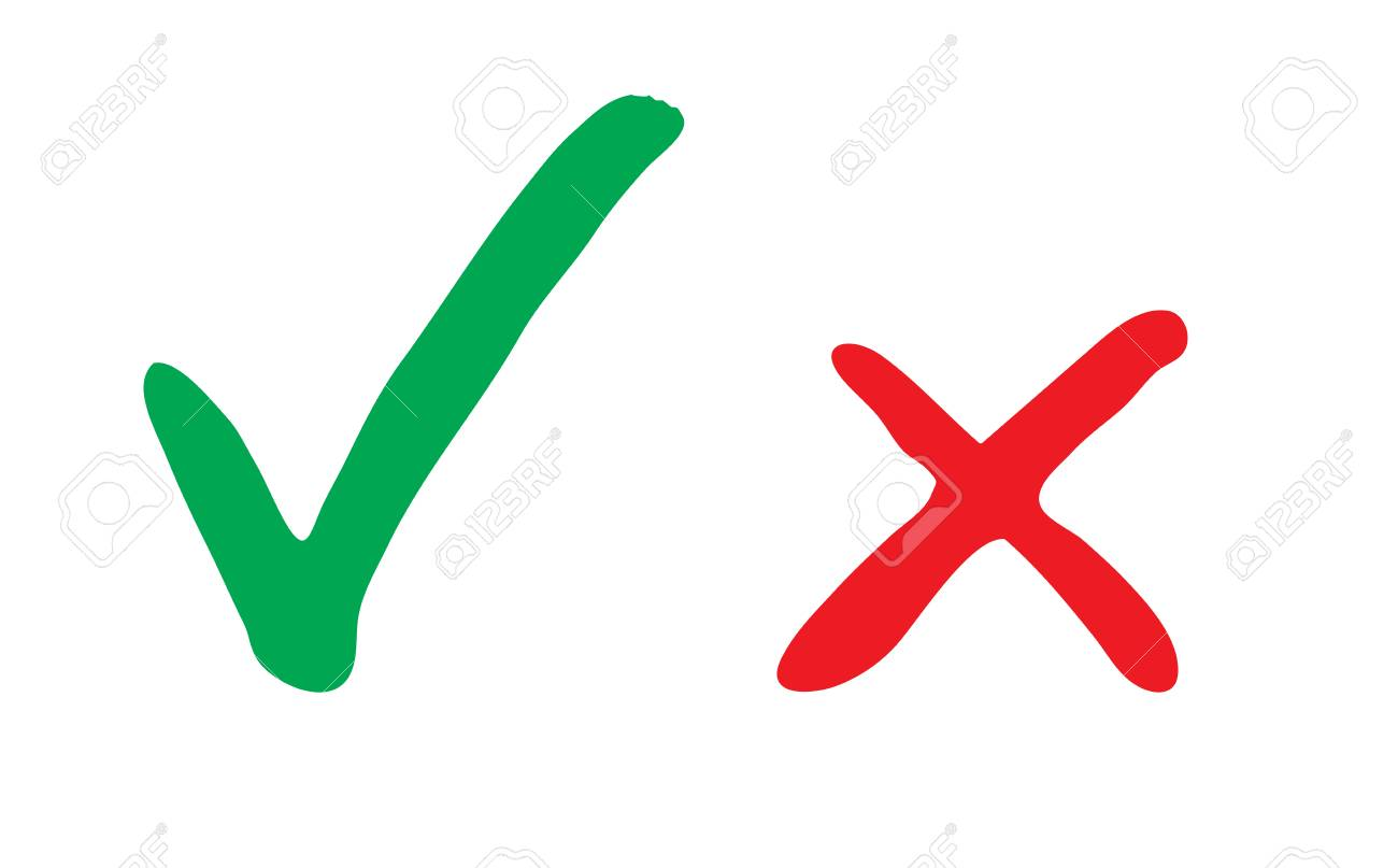 Green and red hand drawn grungy check mark vector illustration