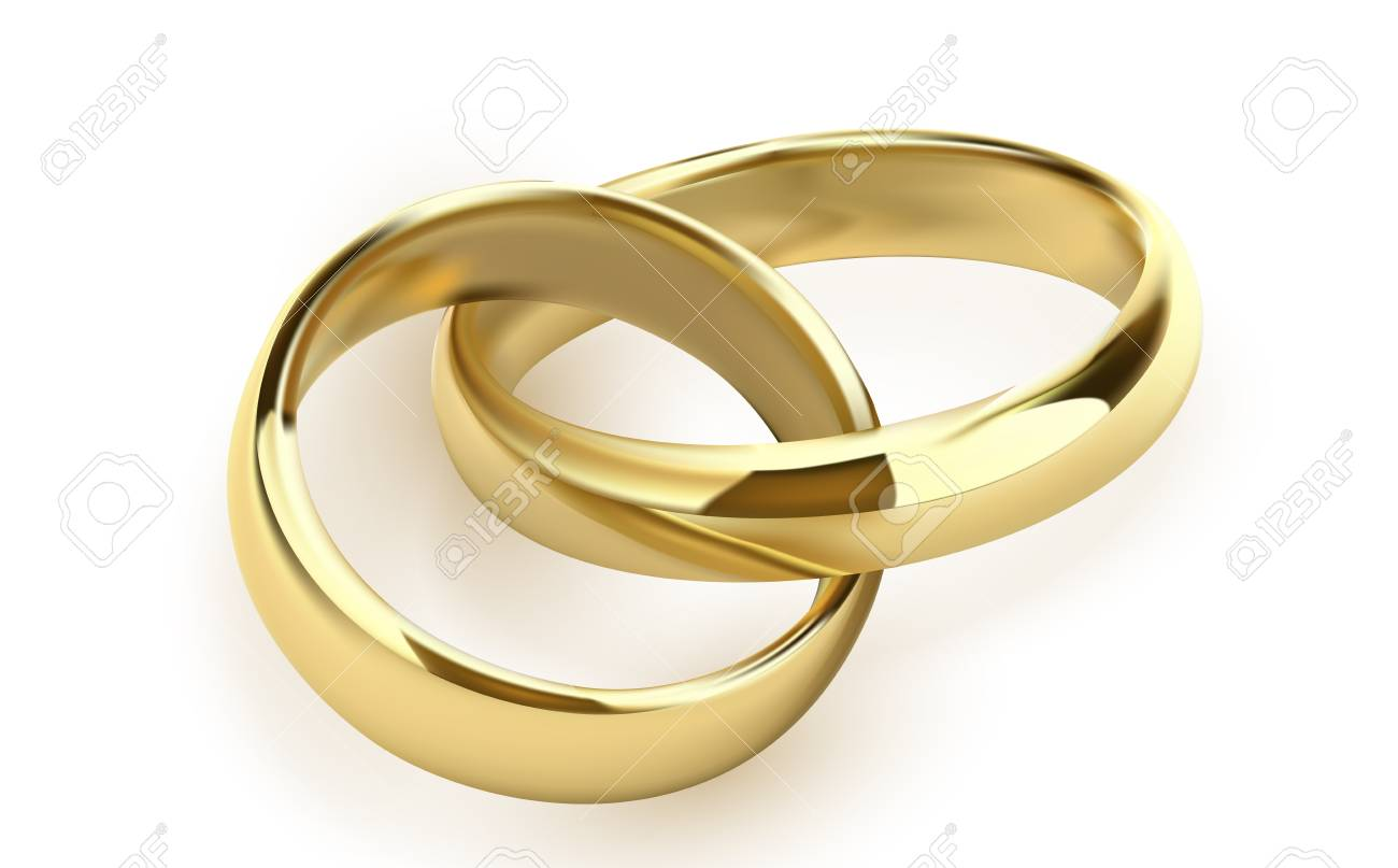 Wedding Rings Set Of Gold Metal On White Background Isolated