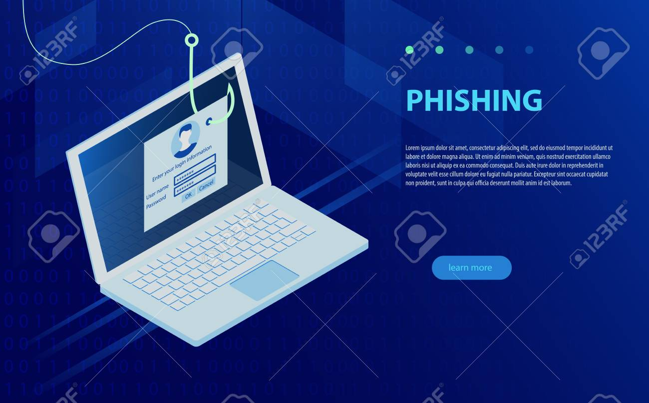 Login into account and fishing hook  Internet phishing, hacked