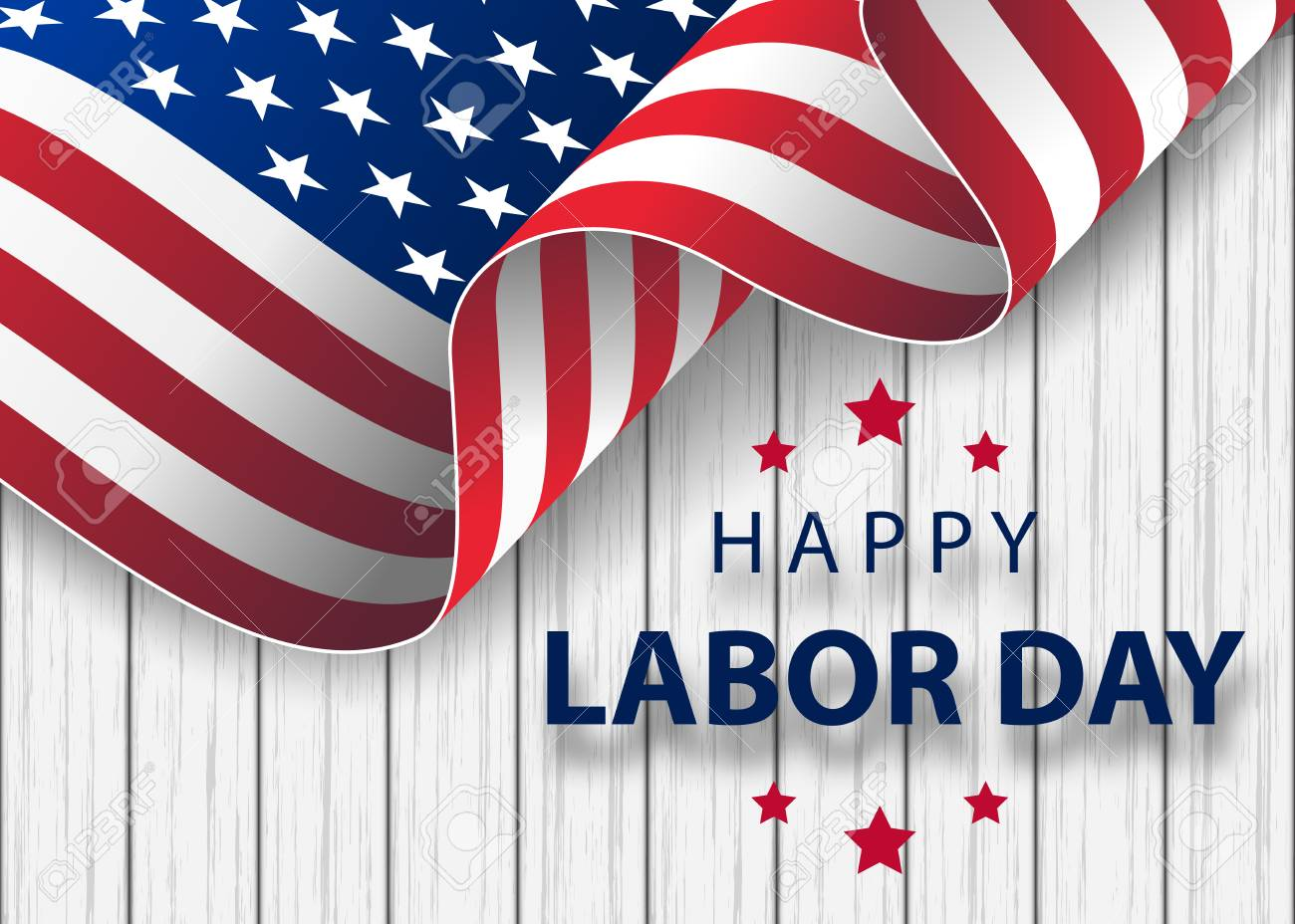 waving American flag with typography Labor Day, September 7th. Happy Labor Day holiday banner with brush stroke background in United States national flag colors and hand lettering text design. - 109882619